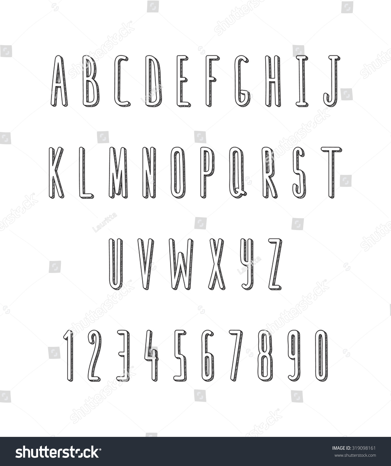 Volume Set Letters Numbers Handmade Outline Stock Illustration