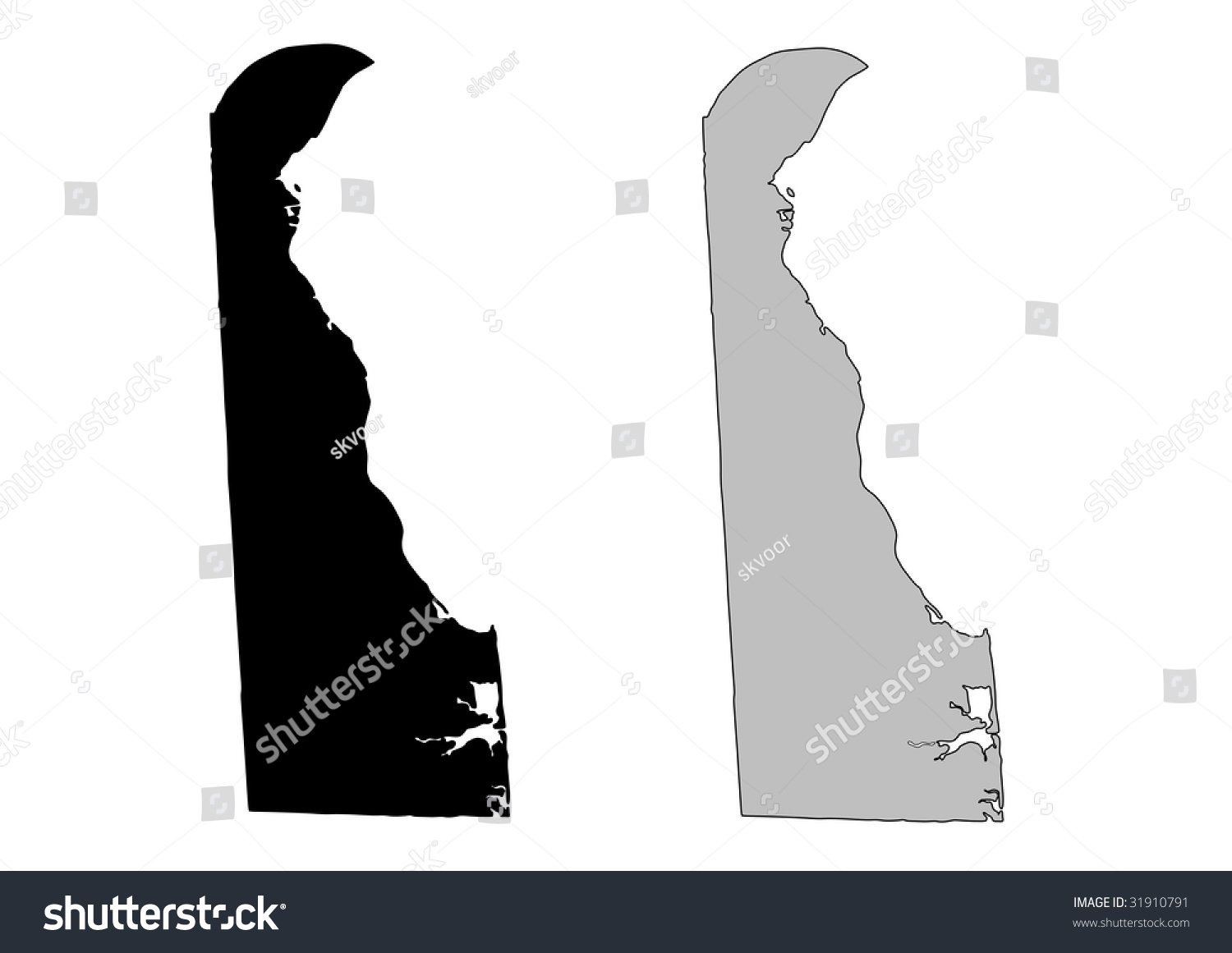 Delaware Map. Black And White. Mercator Projection. Stock ...Black And White Delaware Colony Map