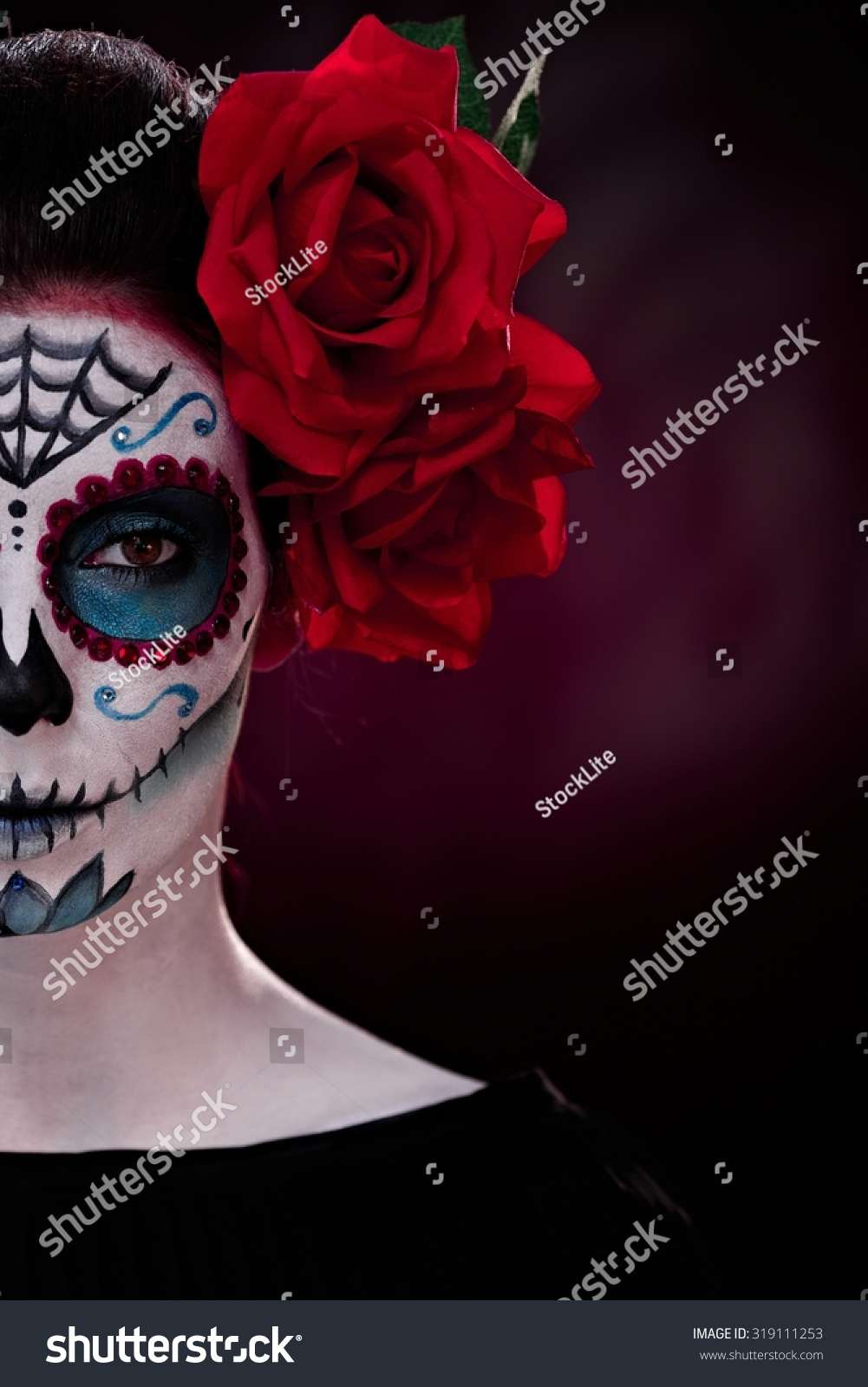 Professional Halloween Makeup Dallas: Half Portrait Woman Professional Makeup Halloween Stock