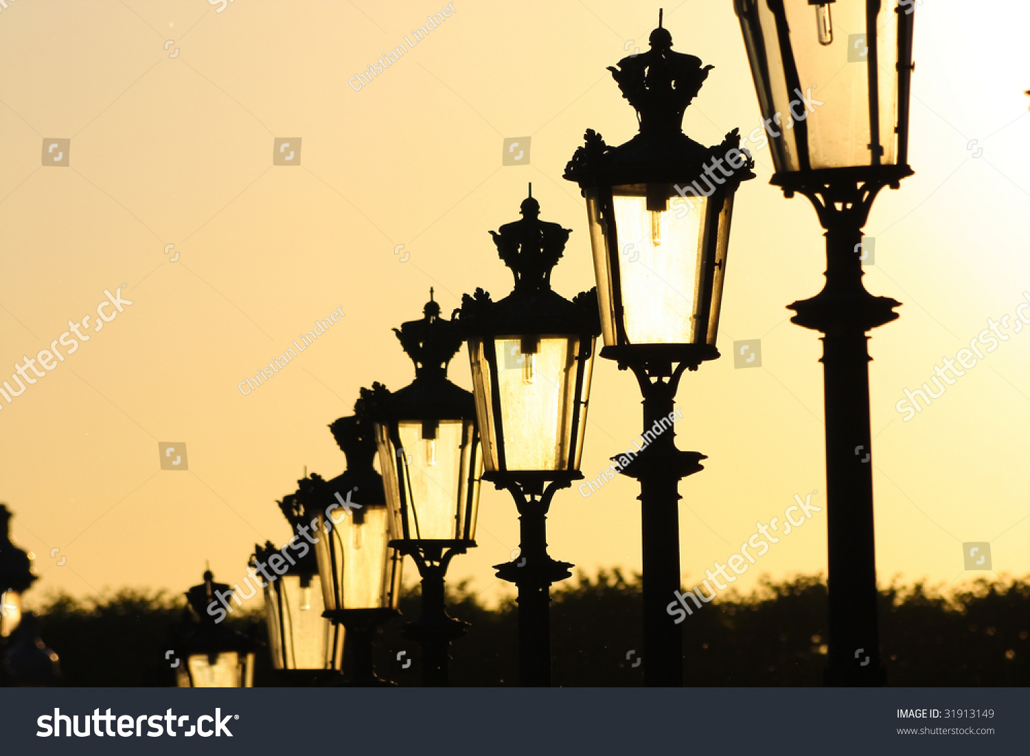 Chain Street Lamps Paris Late Sunlight Stock Photo (Royalty Free ... for Street Lamps Photography  157uhy