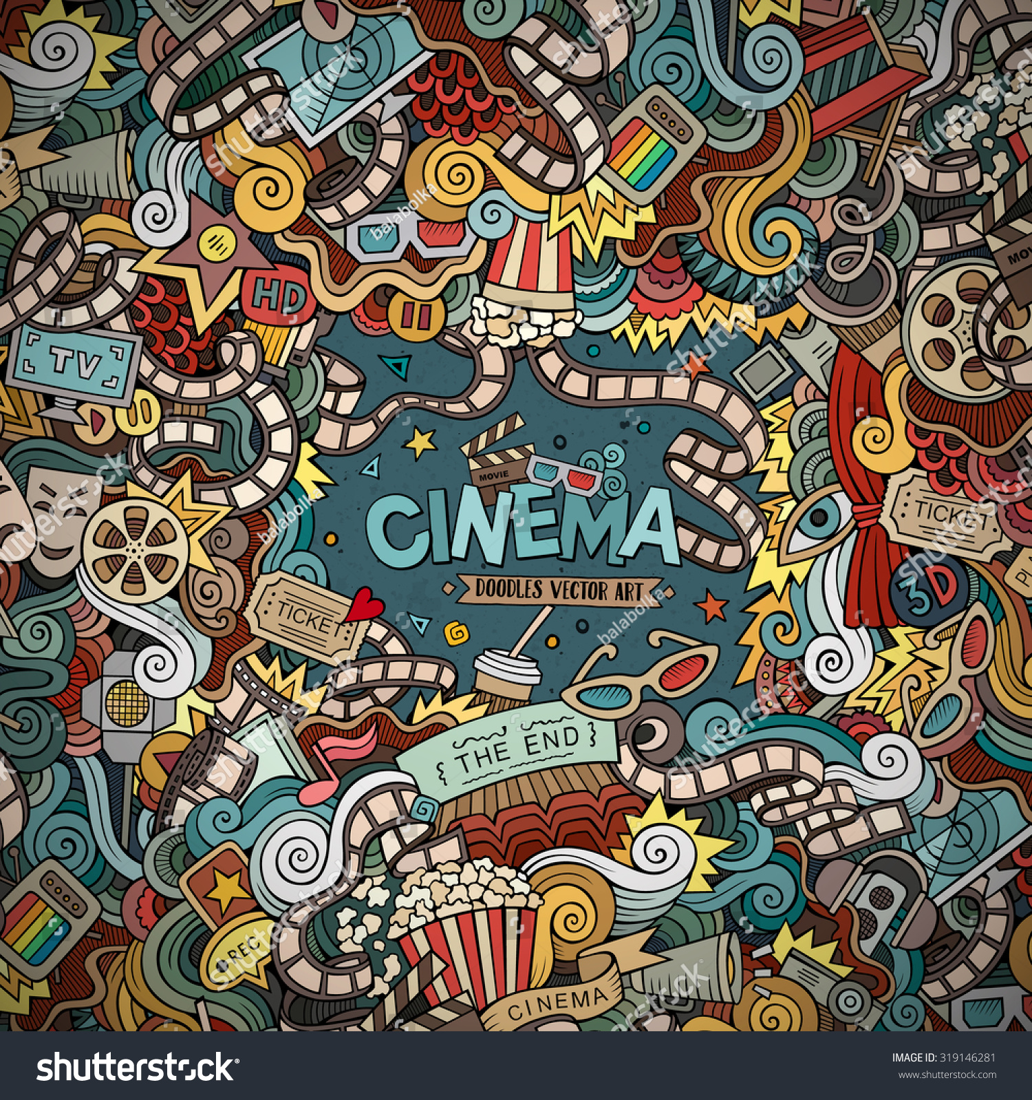 Cartoon Vector Handdrawn Cinema Doodle Frame Stock Vector ...