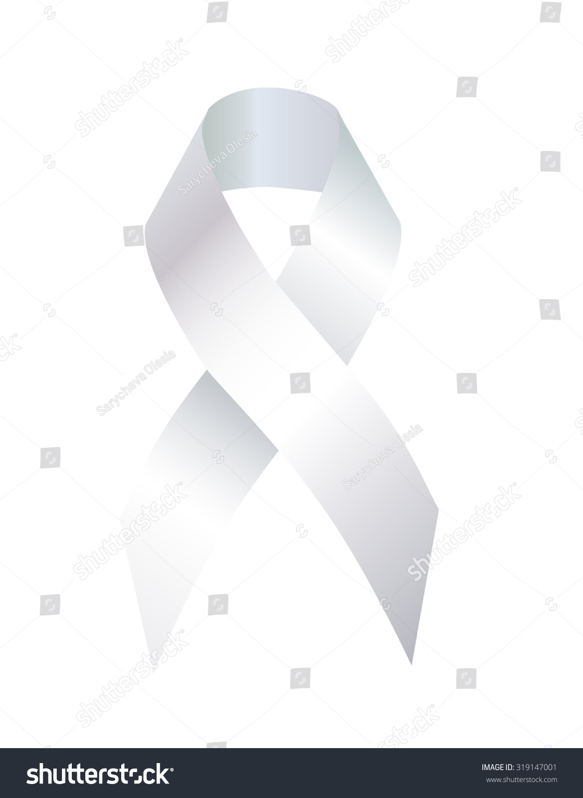 White Ribbon Used Symbol Social Movement Stock Illustration