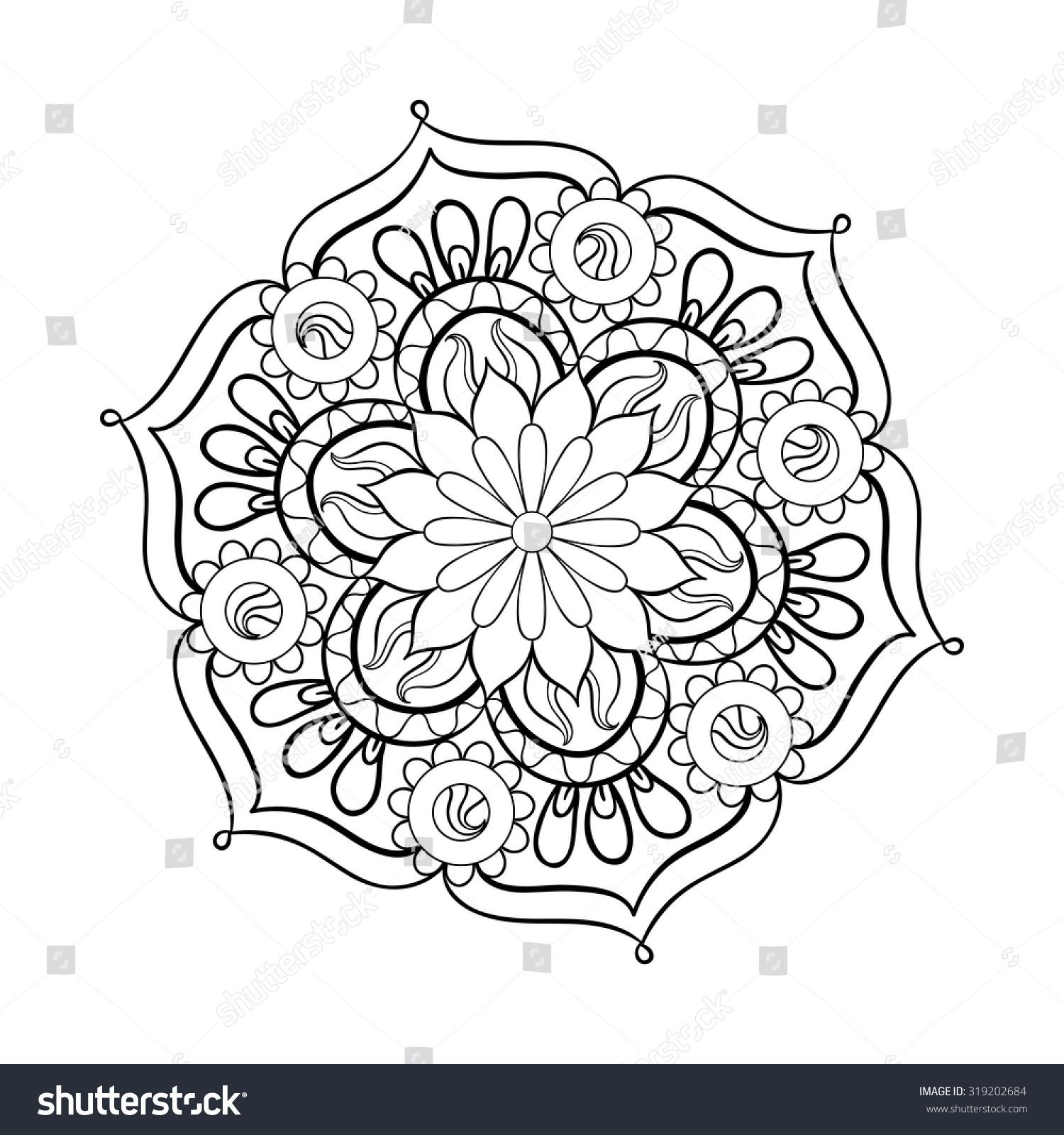 zentangle stylized elegant black mandala rangoli stock vector