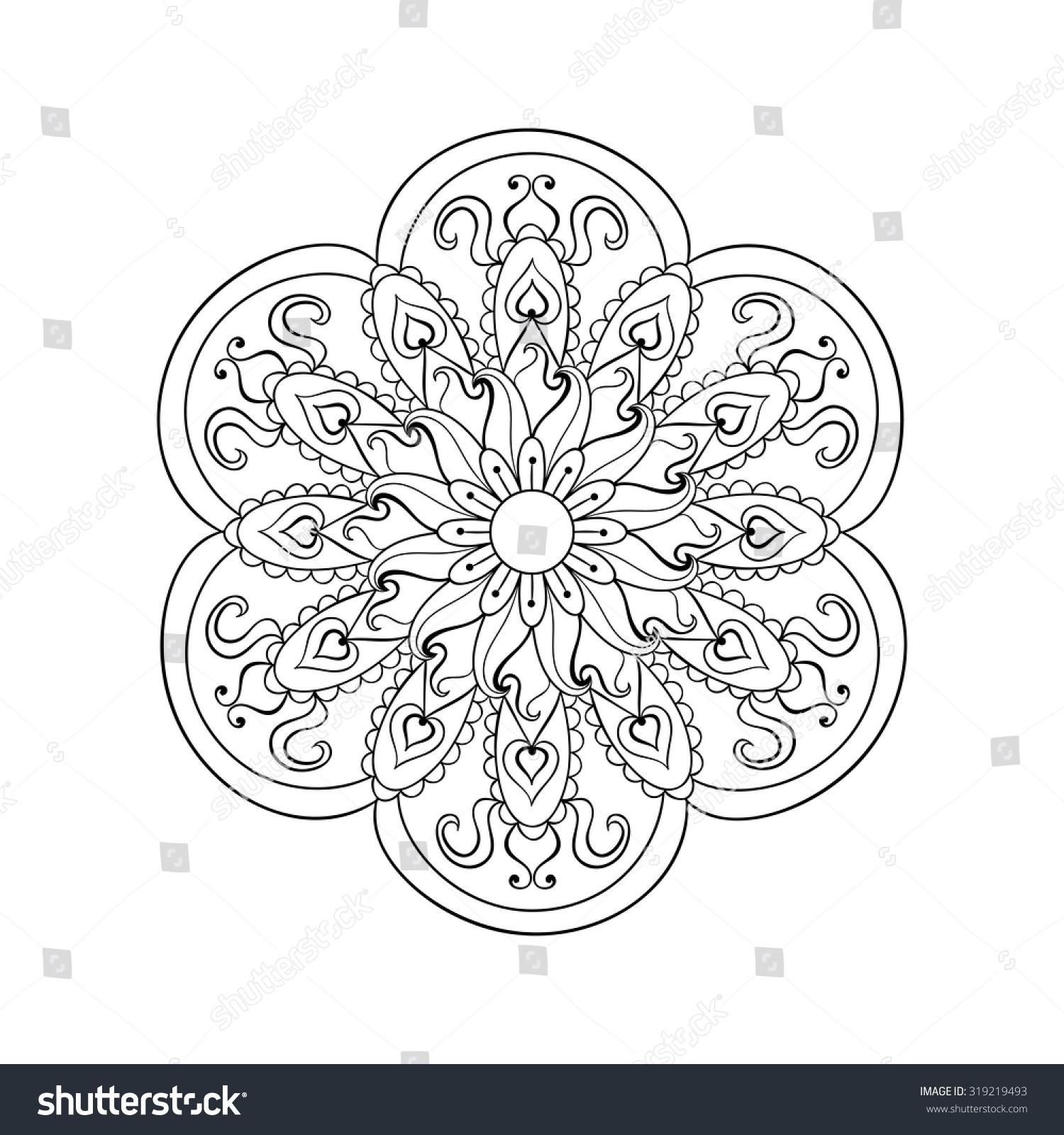 zentangle stylized arabic indian mandala rangoli stock vector