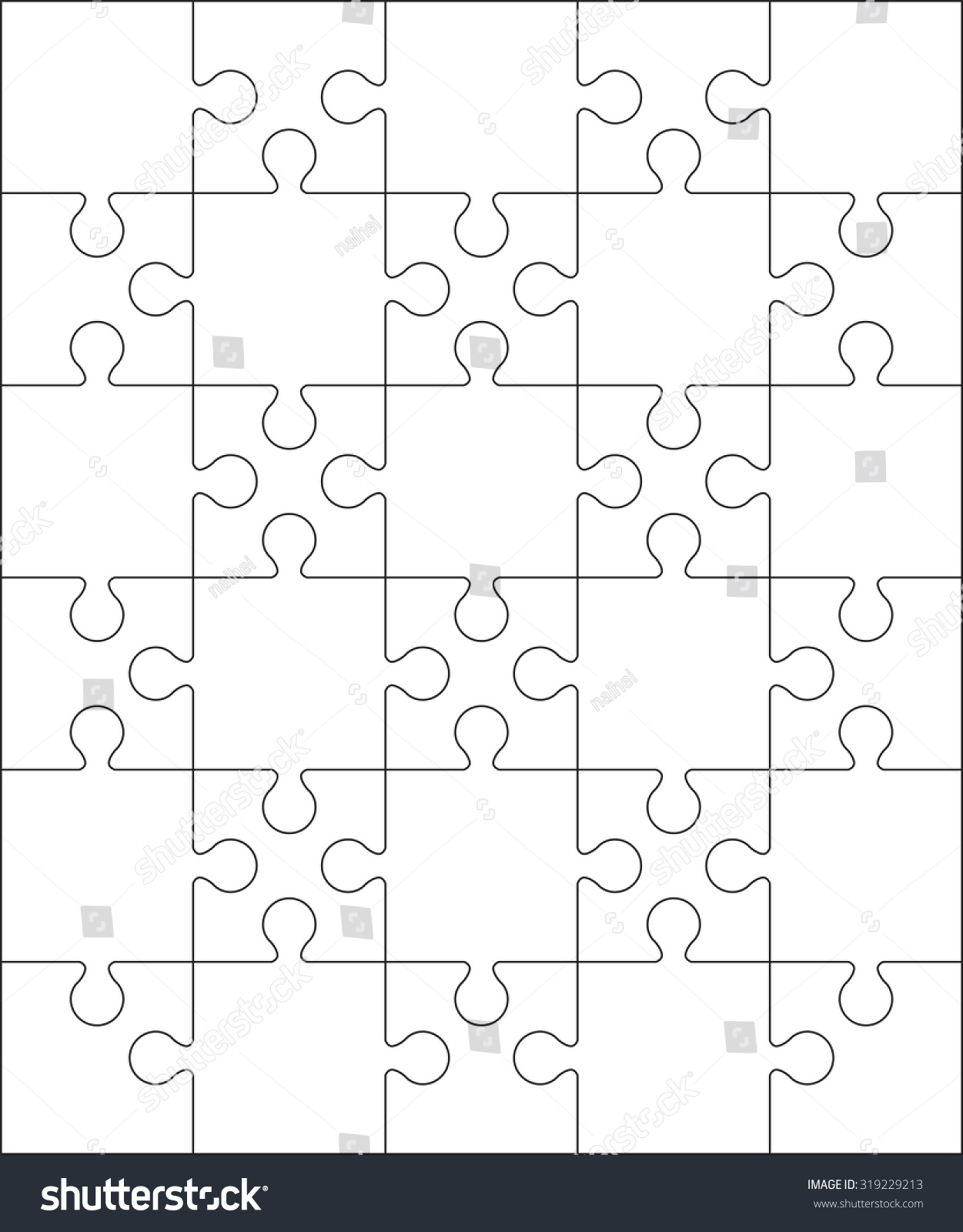 30 Jigsaw Puzzle Blank Template Cutting Stock Photo (Photo, Vector ...