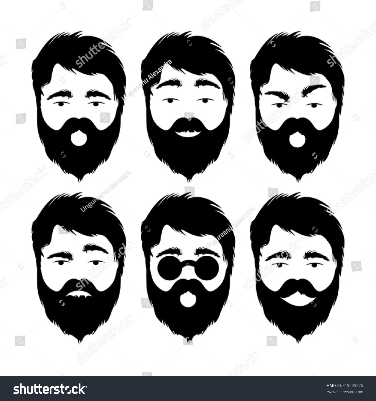 Illustration of modern flat emoticons with beard man isolated on white background