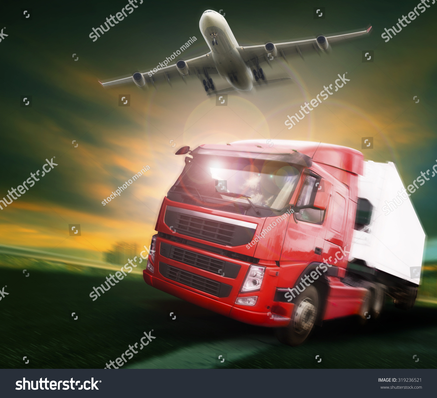 container truck and freight cargo plane flying above in land and air logistic transport industry