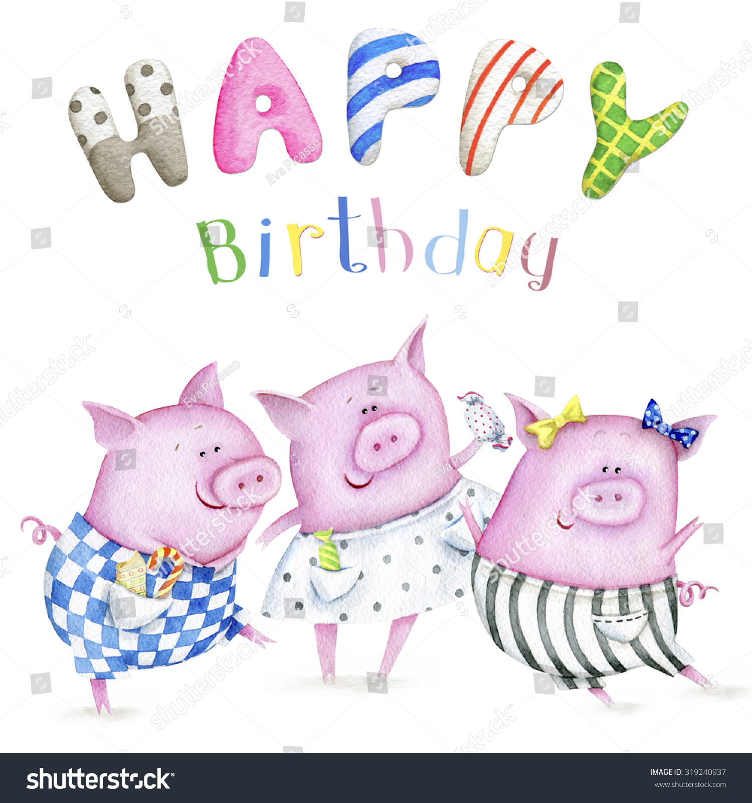 Lovely greeting card happy birthday three stock illustration lovely greeting card happy birthday with the three little pigs watercolor kristyandbryce Gallery