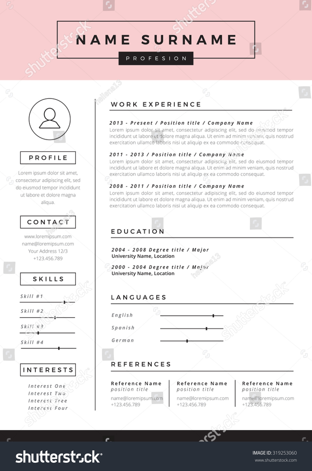 resume template stock vector 319253060