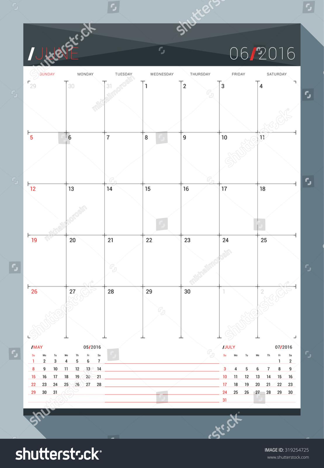 Calendar Pages Vector : June vector design print template stock