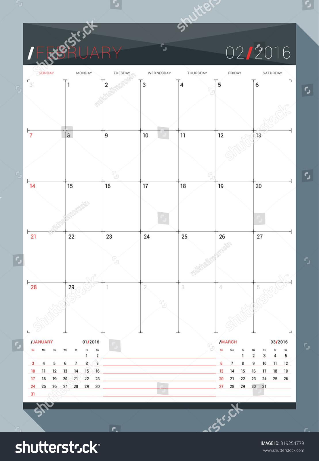 Monthly Calendar Template Vector : February vector design print template stock