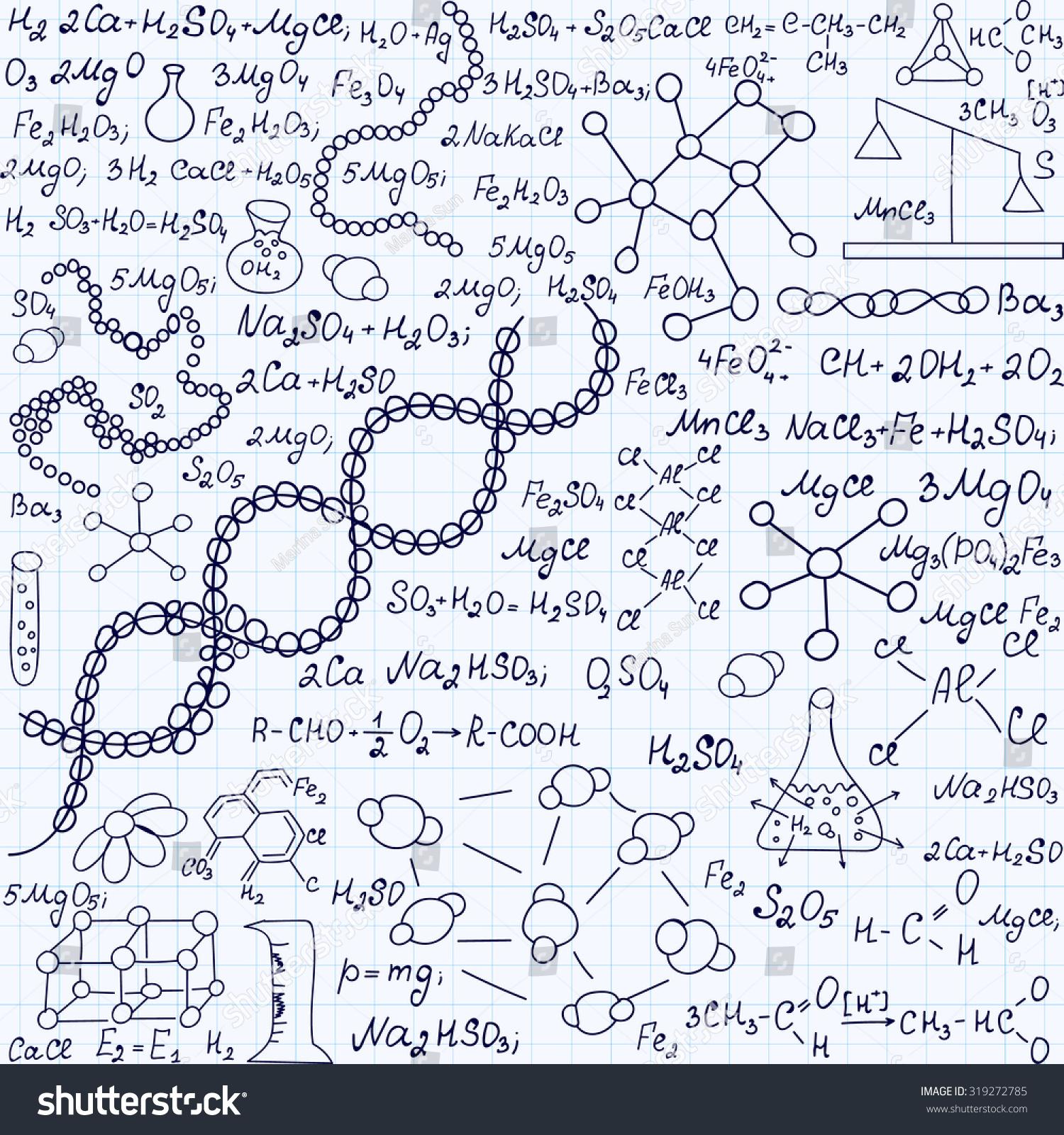 Chemistry Vector Seamless Texture Chemical Formulas Stock Vector ...