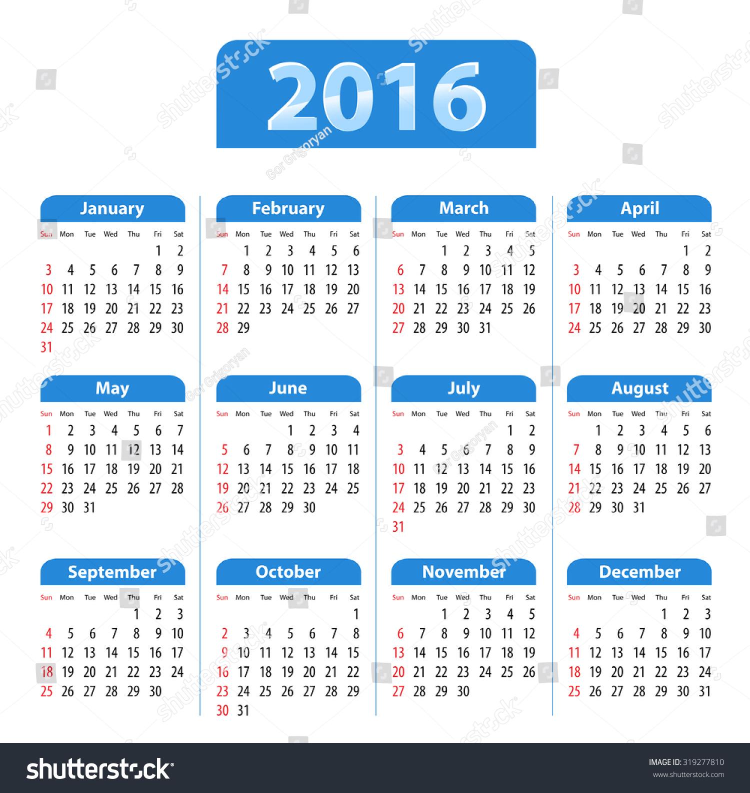 Calendar English : Blue glossy english calendar for sundays first flat