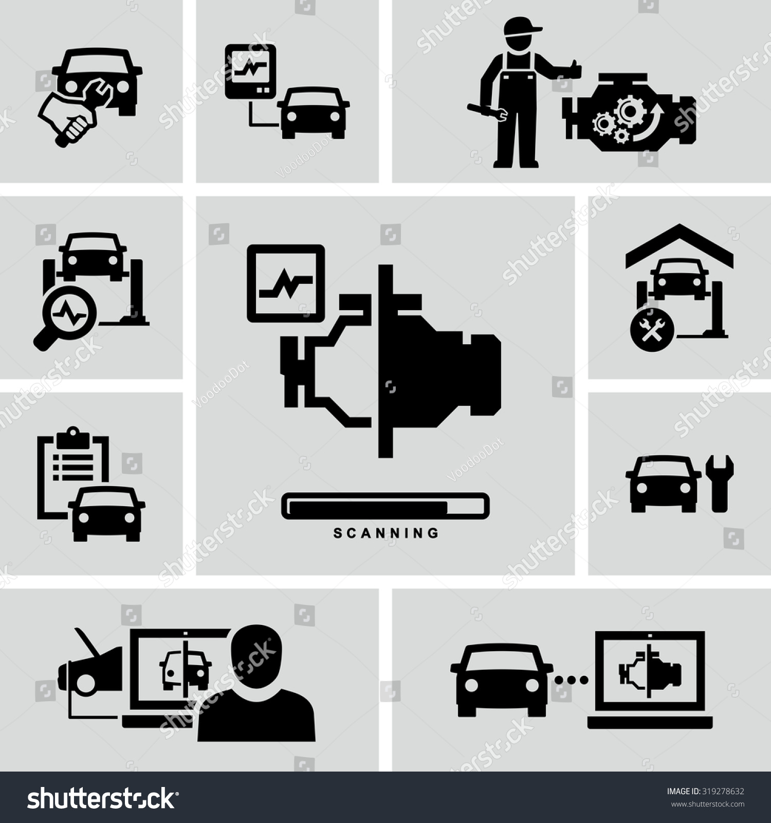 Car engine diagnostics auto mechanic repair stock vector 319278632 car engine diagnostics auto mechanic repair vector icons biocorpaavc Gallery