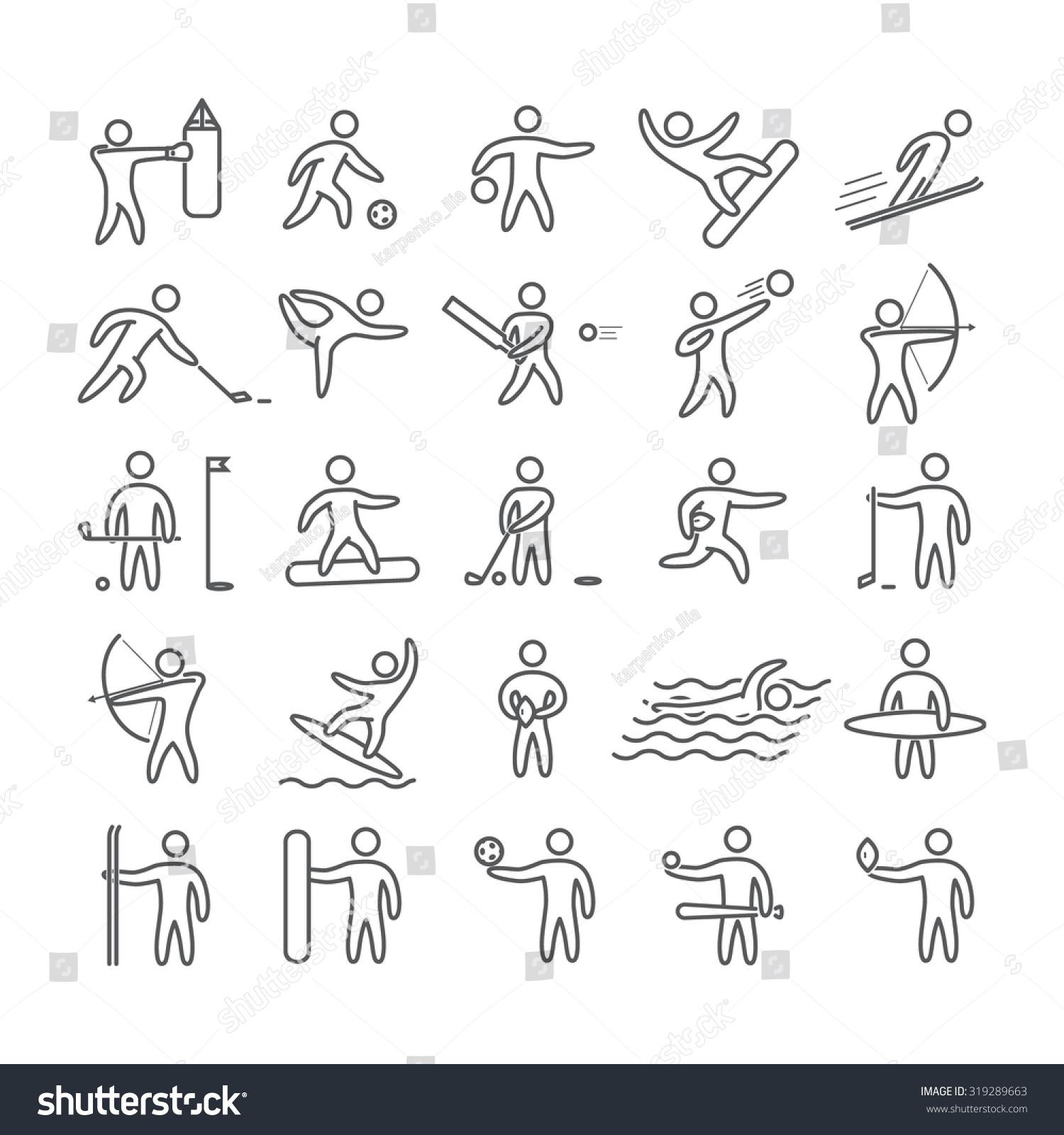 Line Art Figures : Line art figures athletes popular sports stock vector