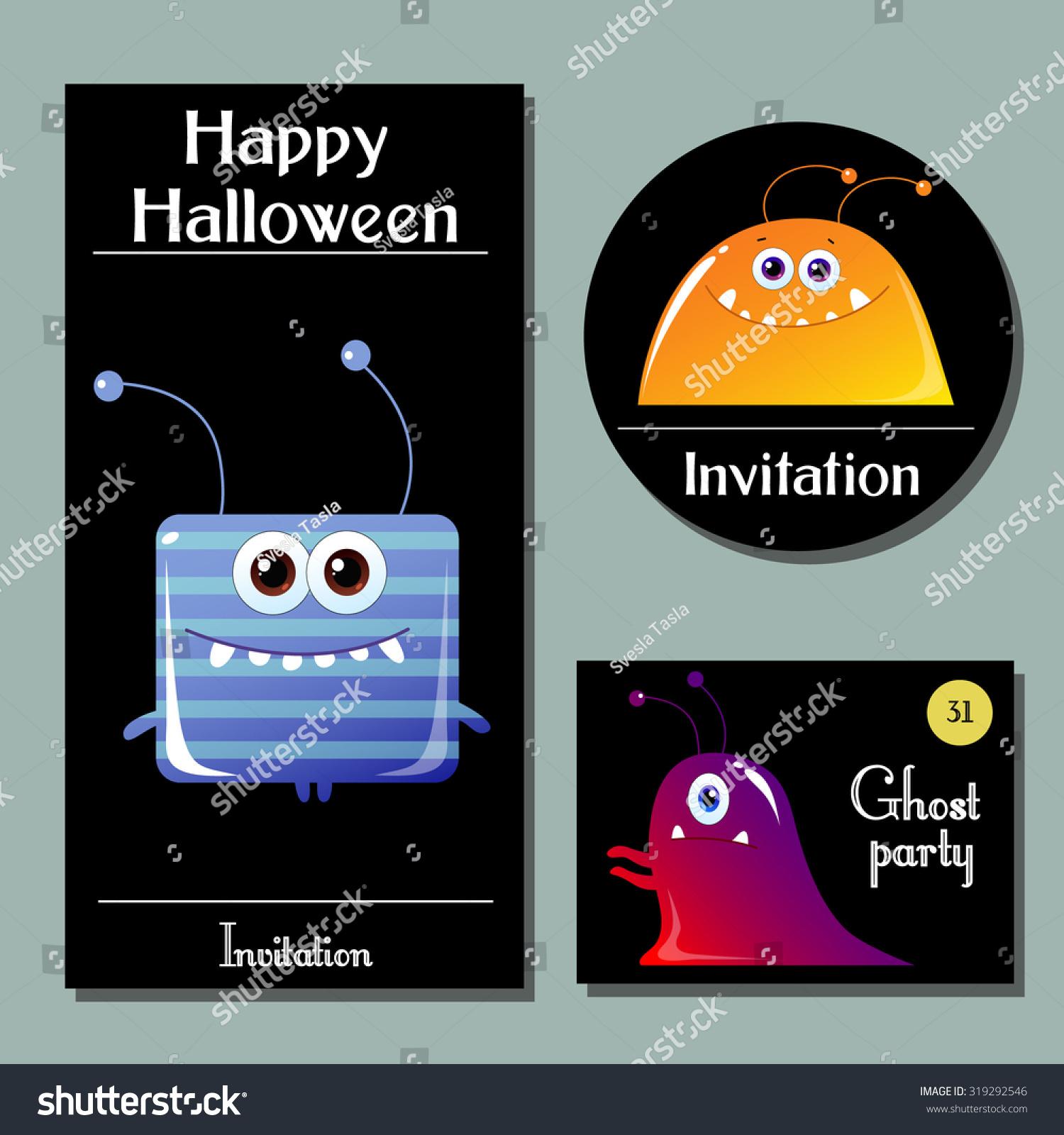 Halloween Cards Cute Cartoon Monsters Happy Stock Vector 319292546 ...