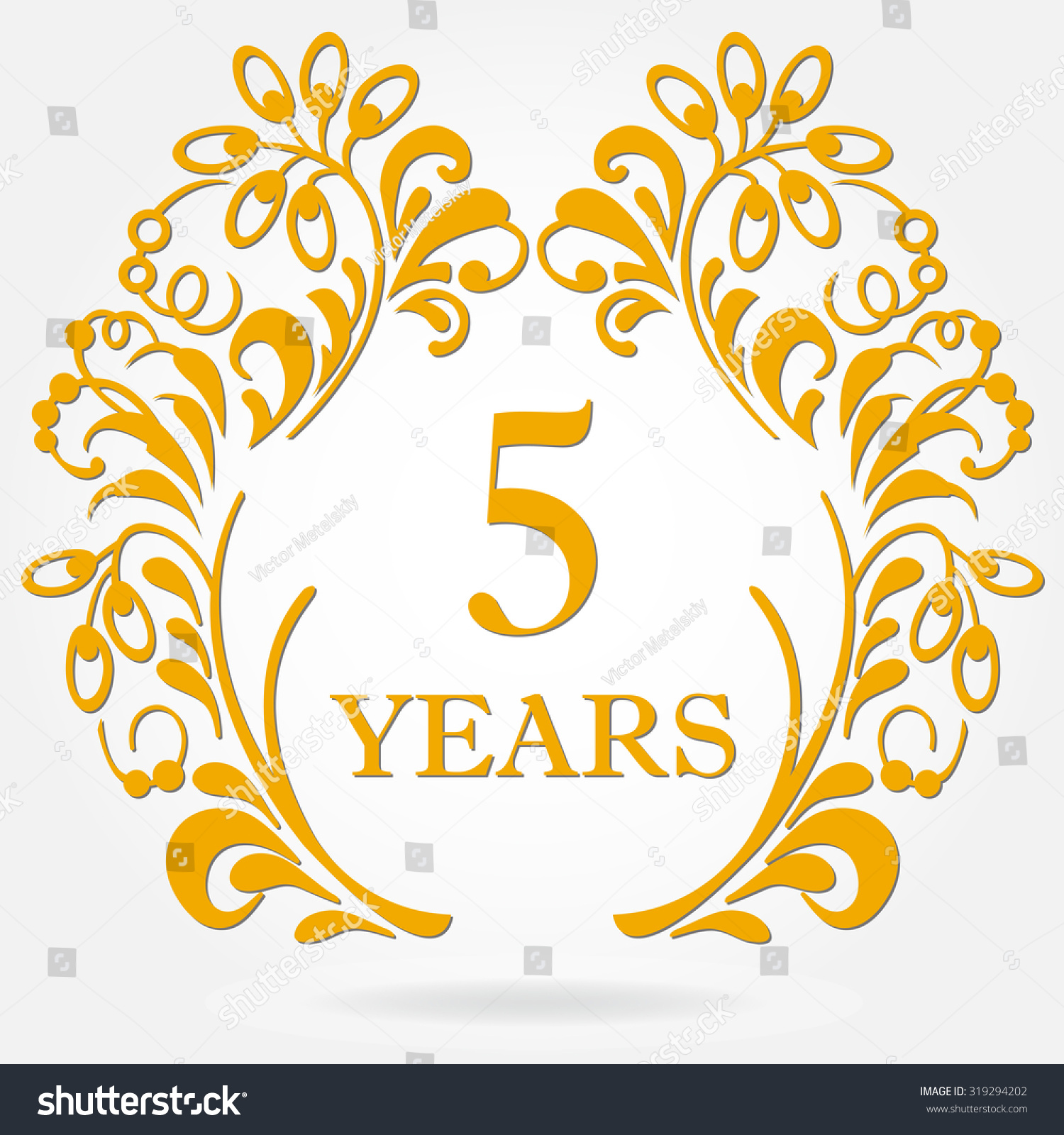 5 Years Anniversary Icon In Ornate Frame With Floral ...