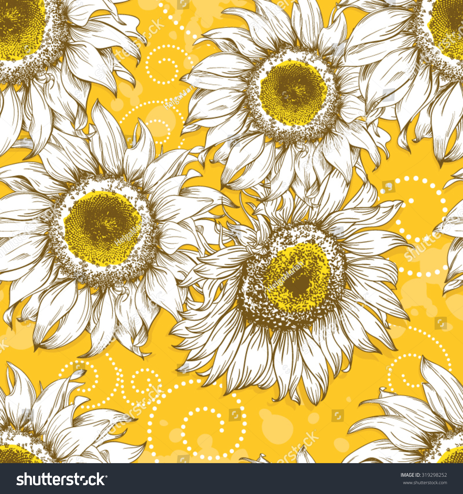 Yellow Vintage Sunflower Background With Hand Drawn Flower Heads Curls And Splashes