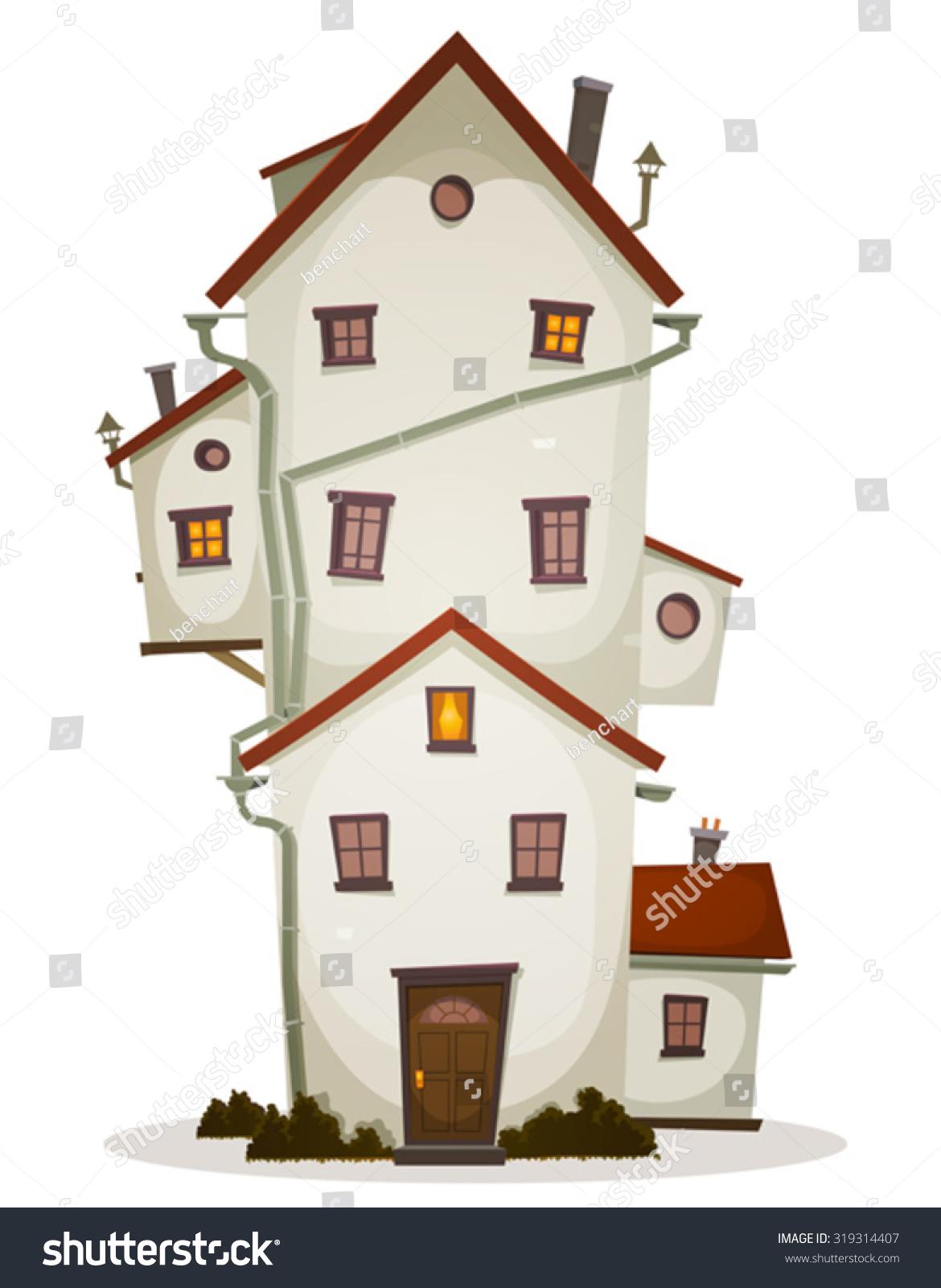 Funny Big House Illustration Cartoon High Stock-Vektorgrafik ...