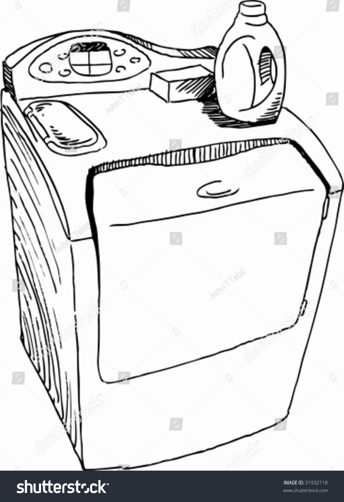 Washing Machine Drawing ~ Washing machine drawing stock vector illustration