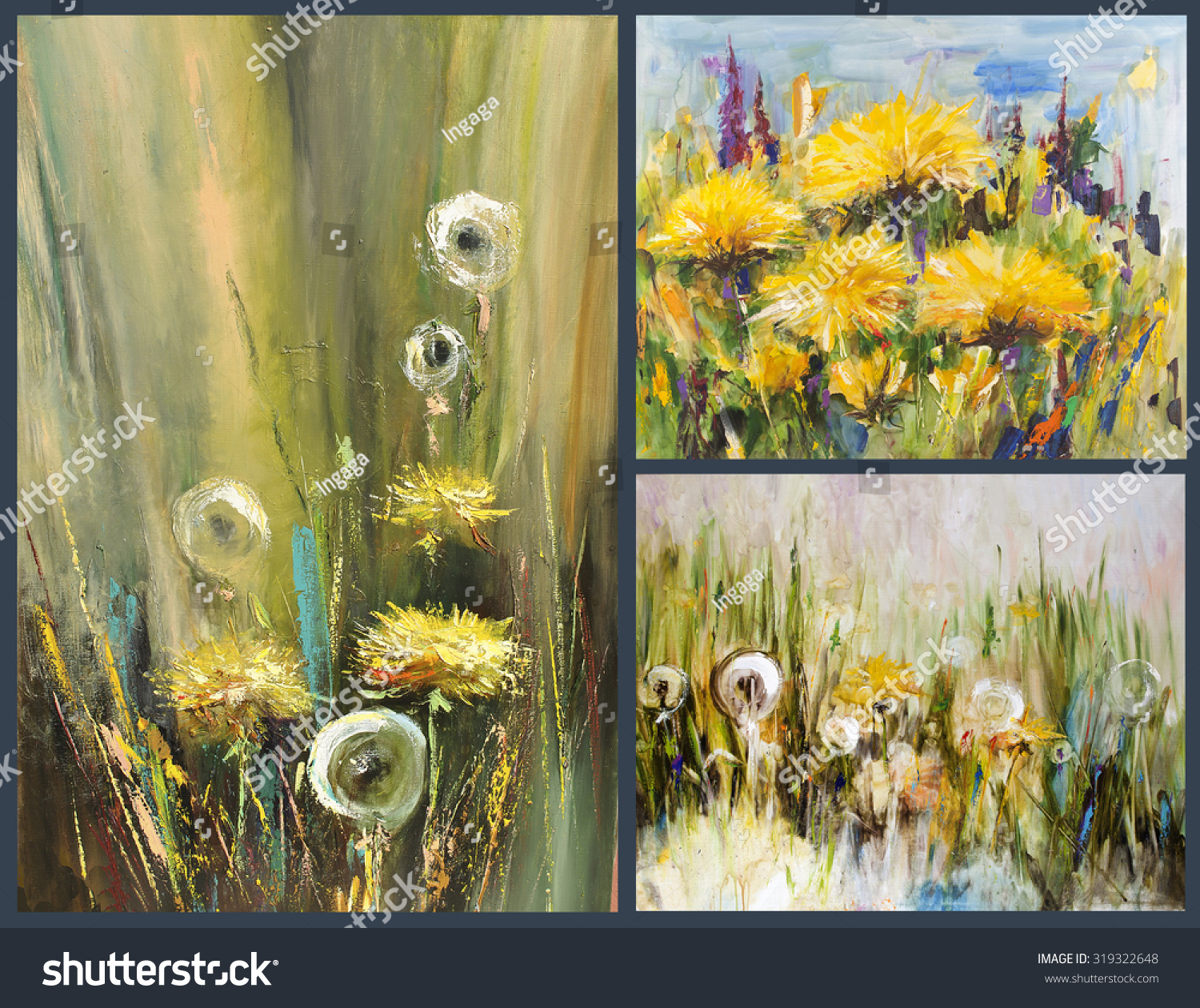 Dandelions Different Perspectives Big Yellow Flowers Painting Pictorial Art