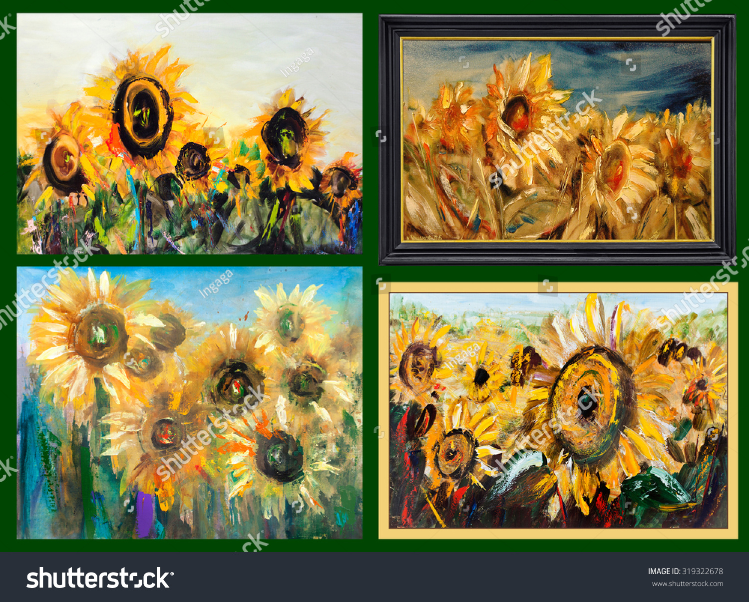 Sunflower Different Perspectives Big Yellow Flowers Painting Pictorial Art
