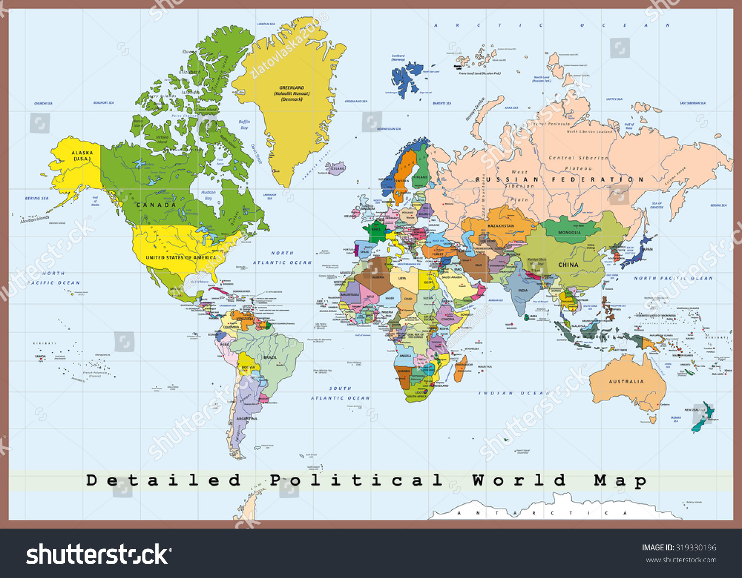 Detailed Political World Map Capitals Rivers Stock Vector - Detailed world map