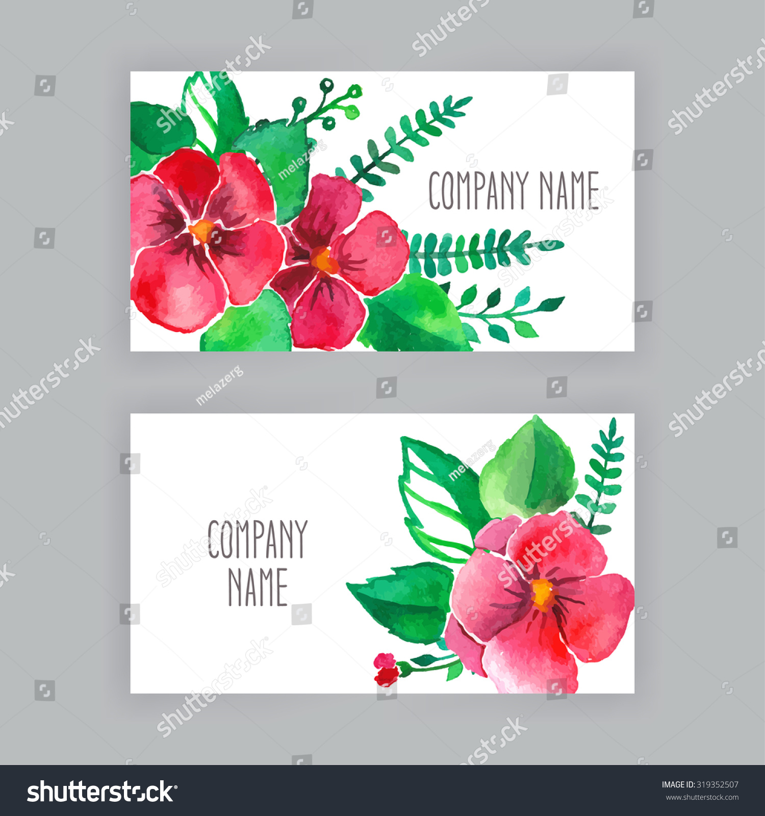 Two Beautiful Business Cards Watercolor Flowers Stock Vector ...