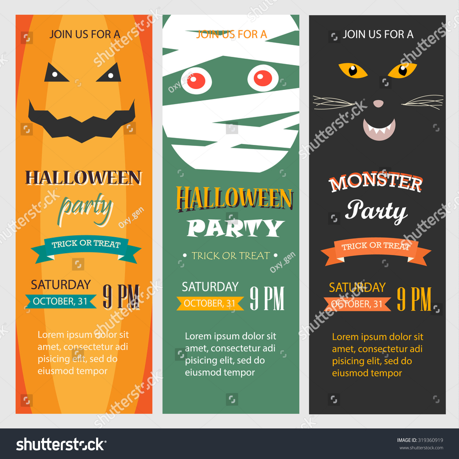 Halloween Party Invitations Vertical Banners Set Stock Photo (Photo ...