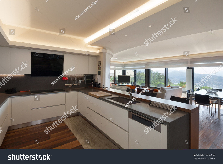 interiors beautiful modern kitchen luxury apartment stock photo 319368005 shutterstock. Black Bedroom Furniture Sets. Home Design Ideas