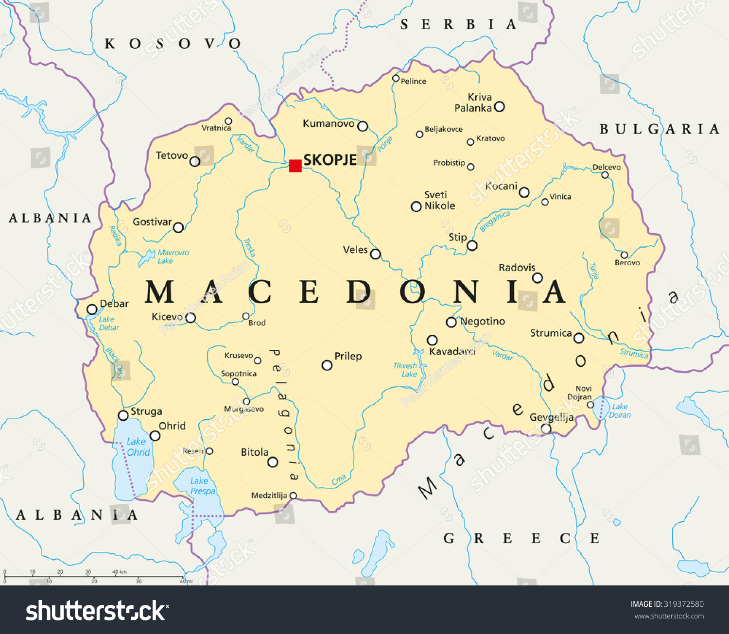 Macedonia Political Map With Capital Skopje National Borders Important Cities Rivers And Lakes