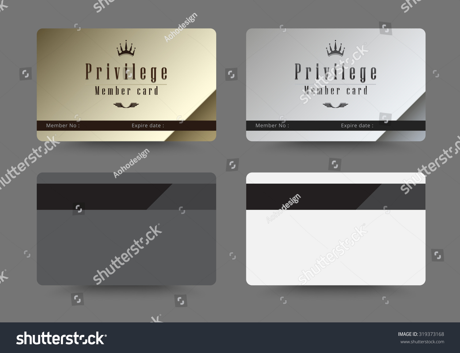 Gold And Silver Privilege Card For Member Template Design. Vector  Illustration.  Membership Card Design