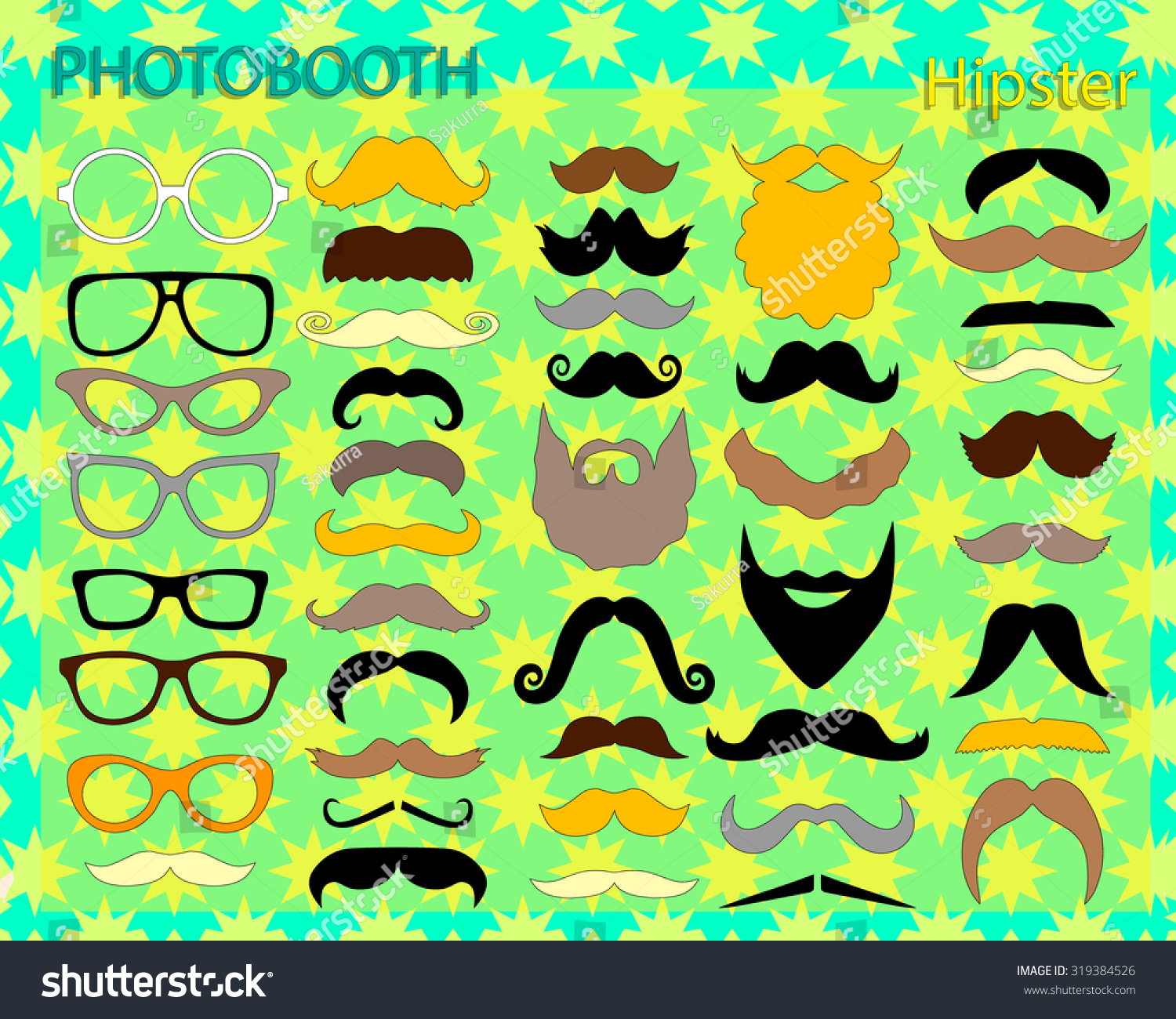 Photo booth props template. Mustache, beard and glasses. Hipster ...
