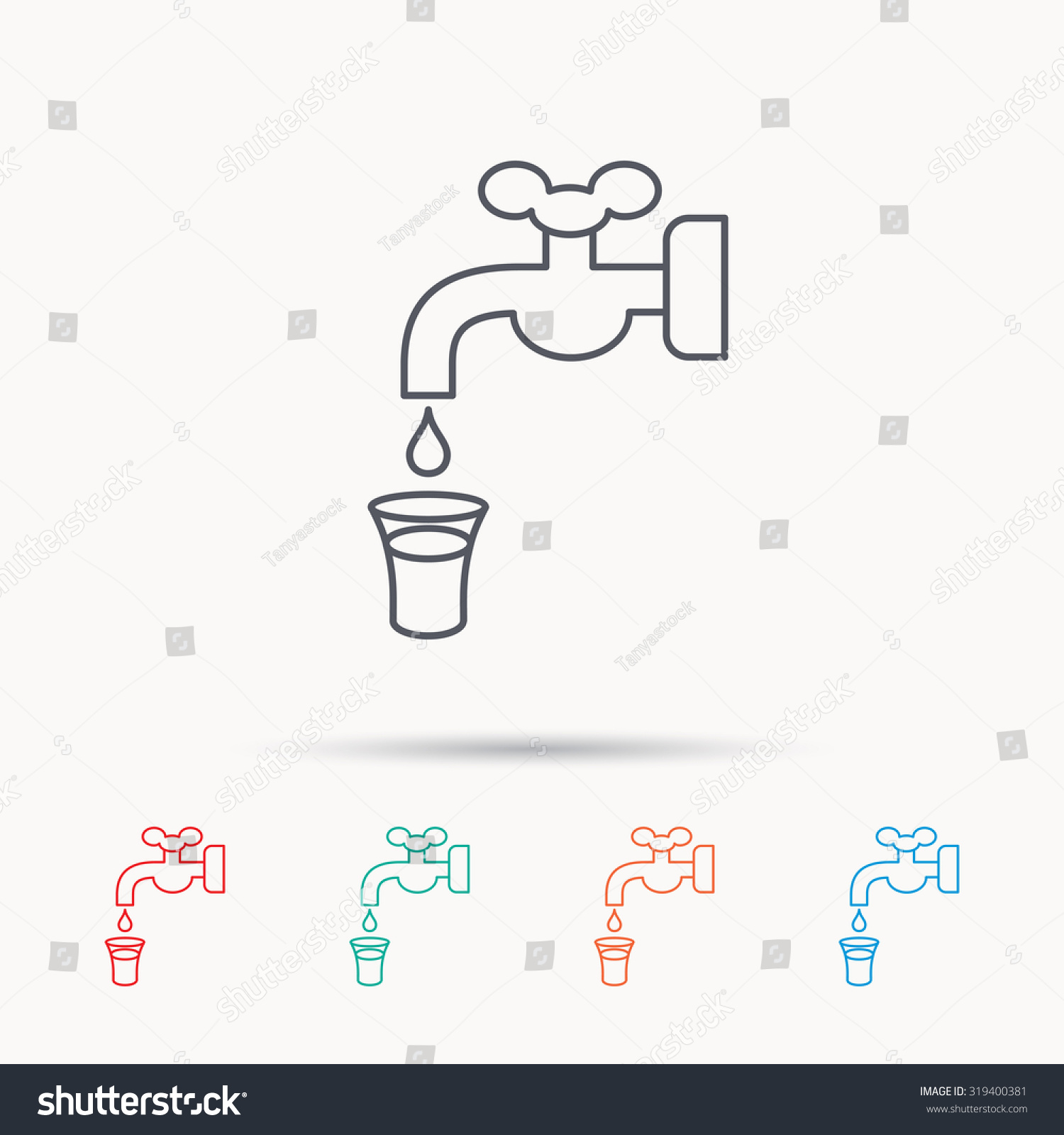 Save Water Icon Crane Faucet Drop Stock Vector 319400381 - Shutterstock