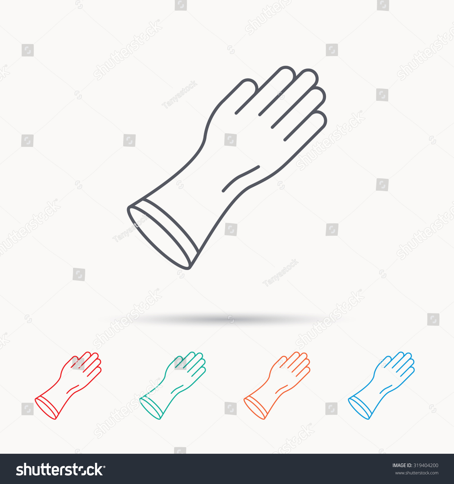 Rubber gloves icon latex hand protection stock vector 319404200 latex hand protection sign housework cleaning equipment symbol linear icons biocorpaavc