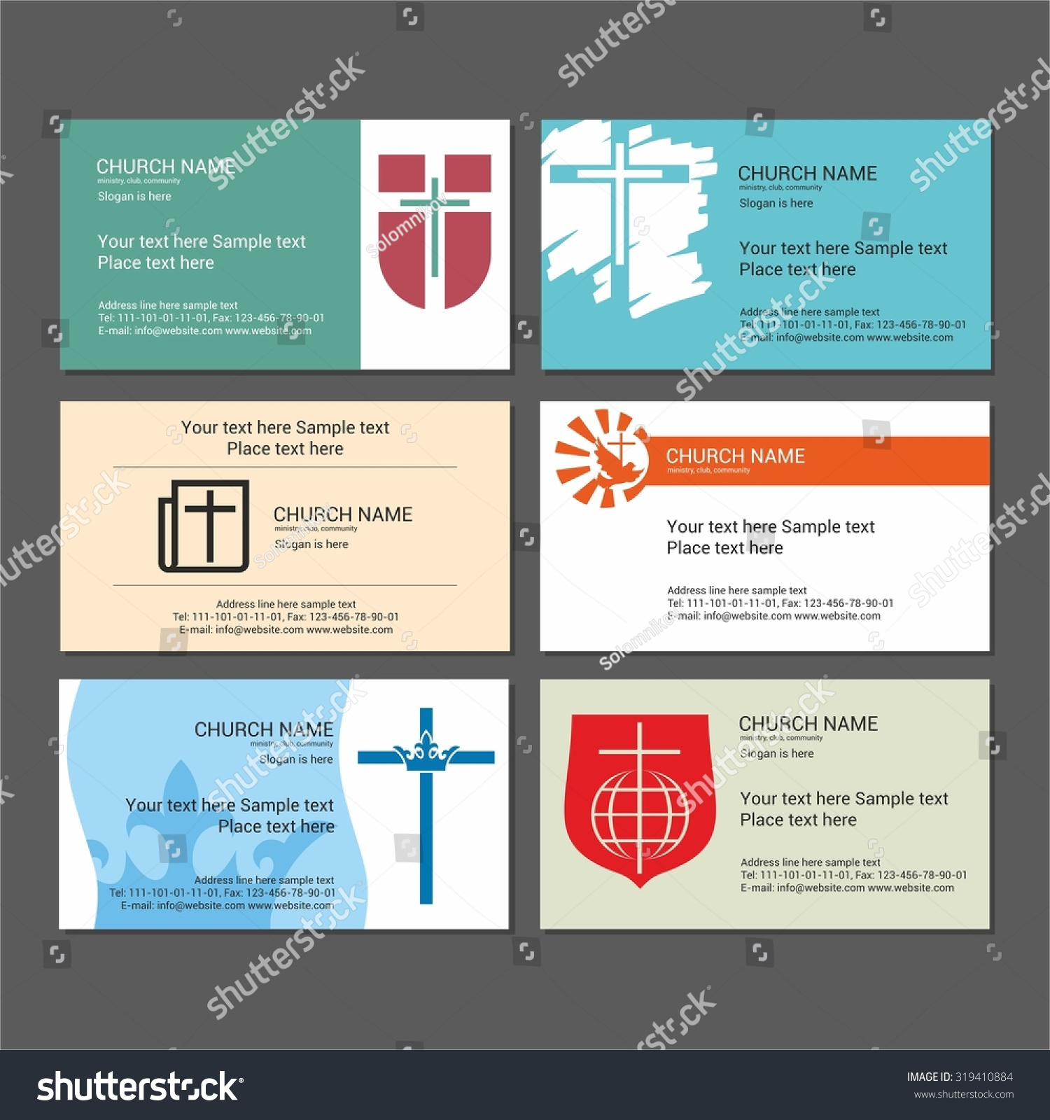 Set Christian Business Cards Church Ministry Stock Vector 319410884 ...