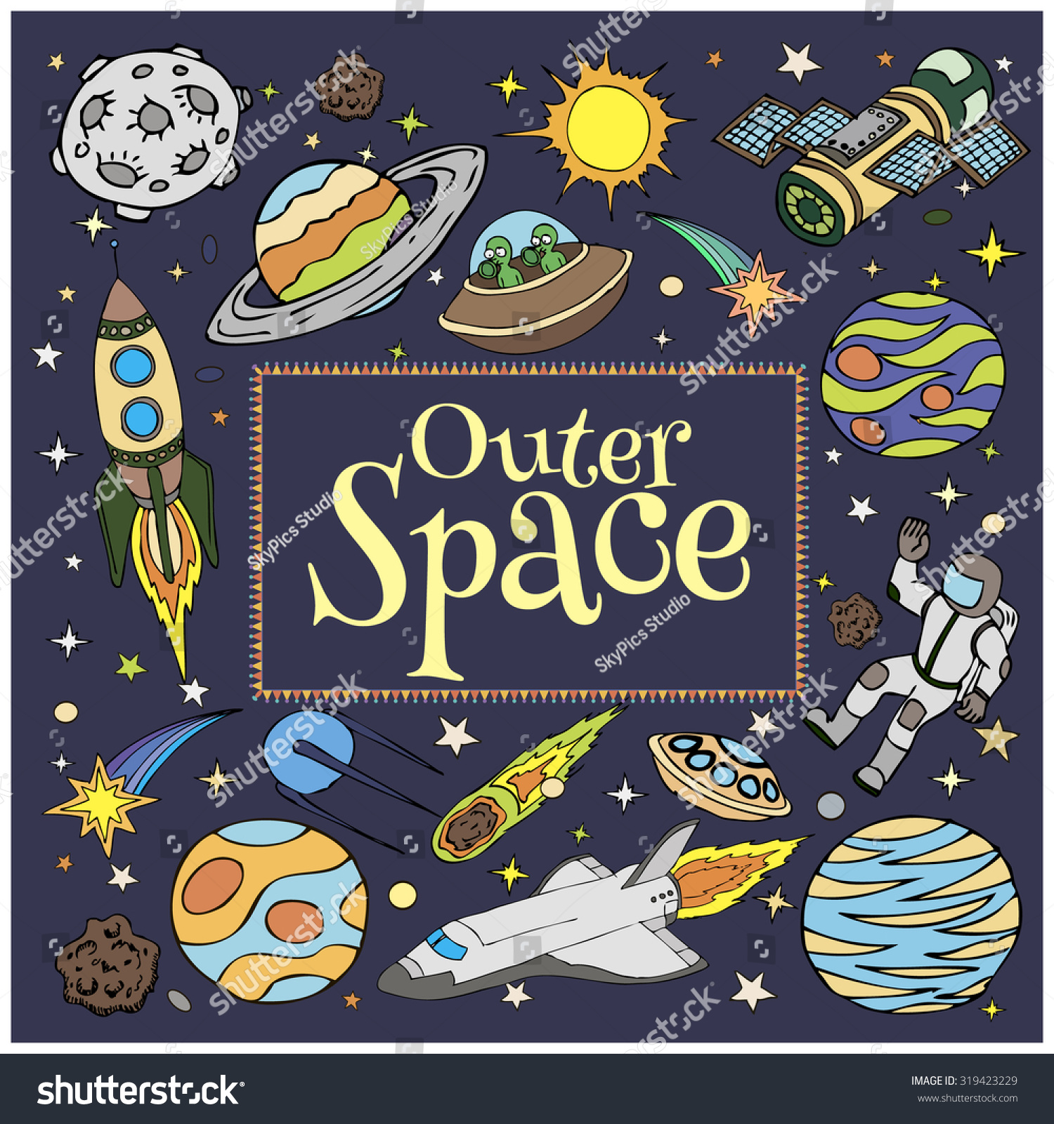 Outer space doodles symbols design elements stock vector for Outer space designs norwich