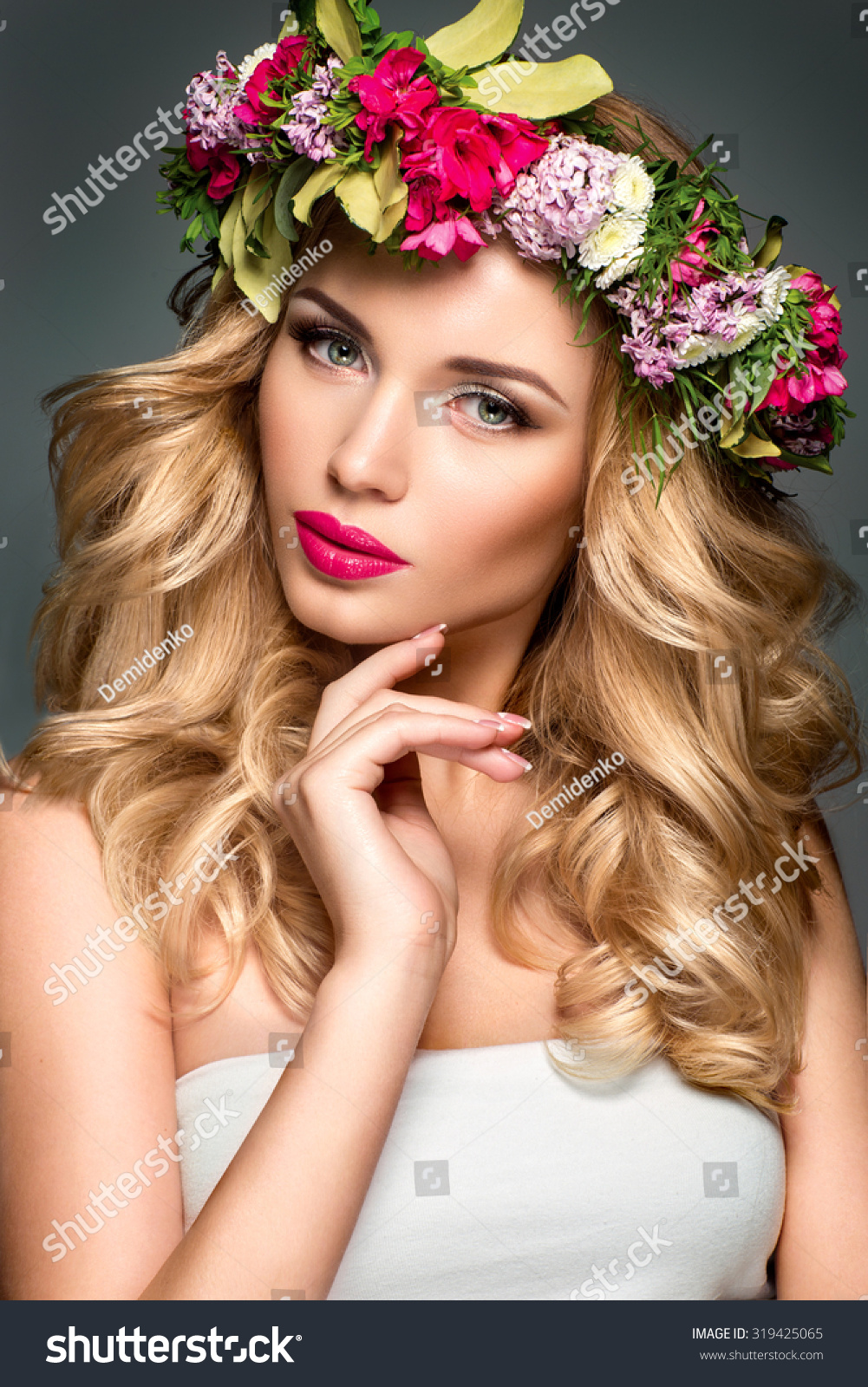 Beautiful woman flowers hair stock photo 319425065 shutterstock beautiful woman with flowers in hair dhlflorist Gallery