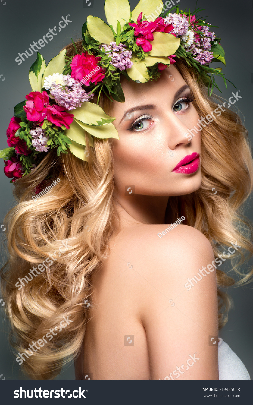 Beautiful woman flowers hair stock photo 100 legal protection beautiful woman with flowers in hair izmirmasajfo
