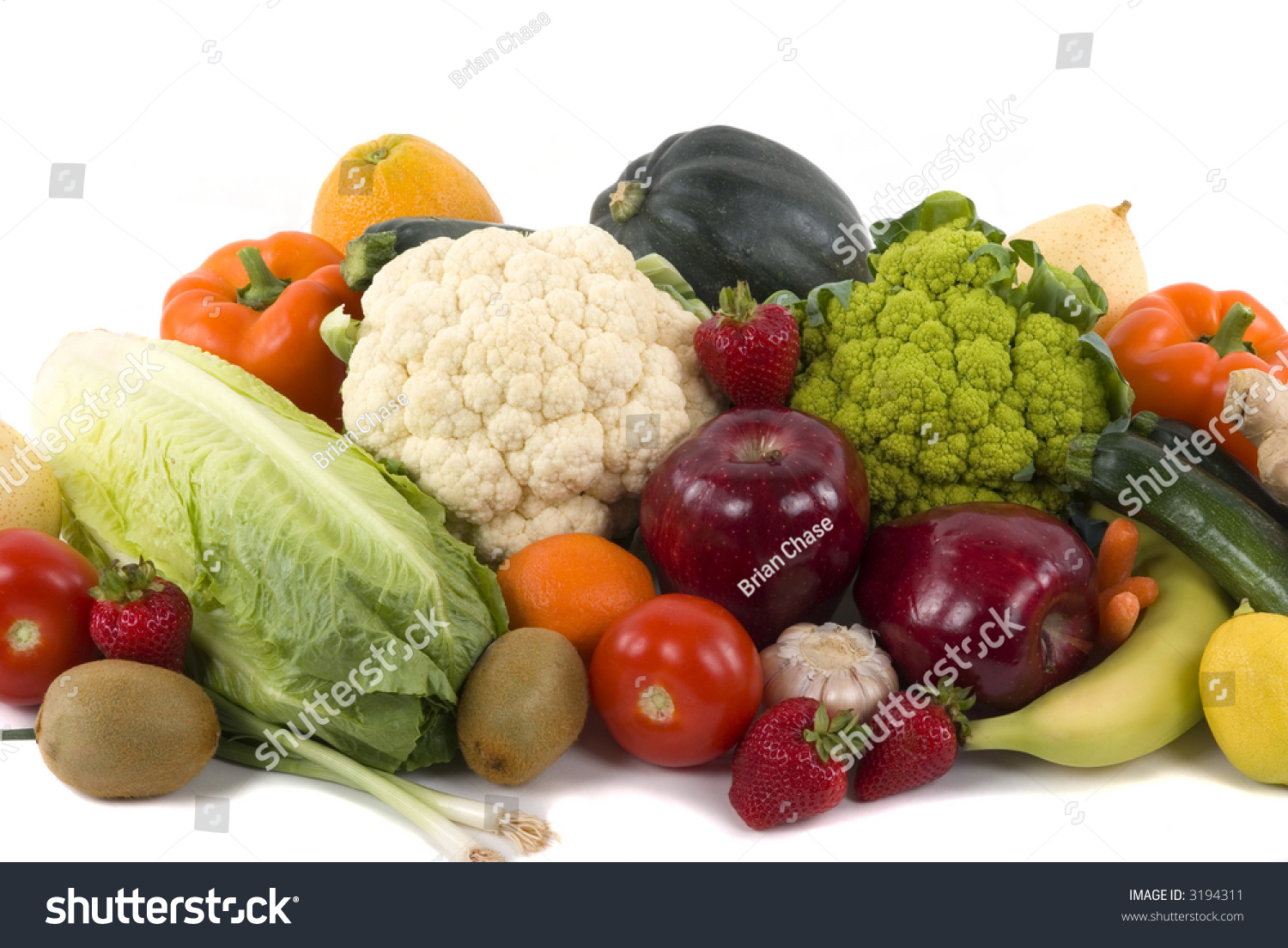 different kinds vegetables fruits on white stock photo 3194311