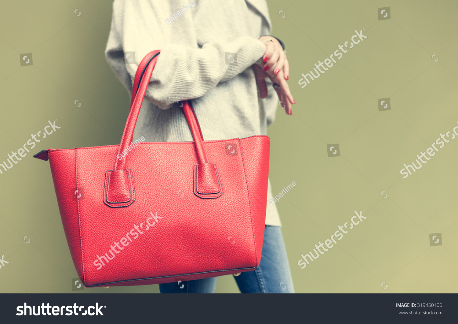 Beautiful Young Woman Posing Jeans Red Stock Photo 319450106 ...