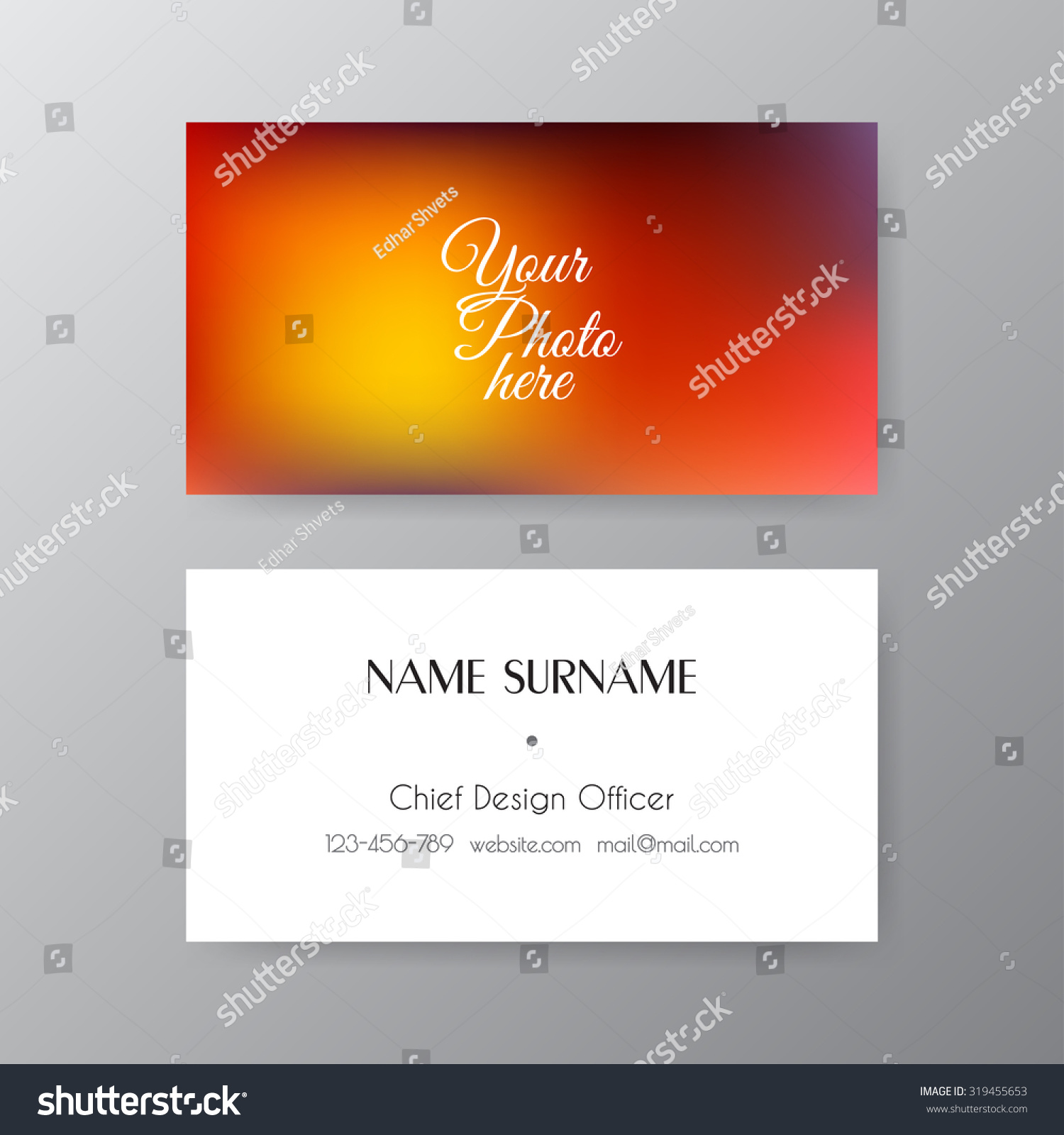 Editable Business Card Set 85 X Stock Vector 319455653 - Shutterstock