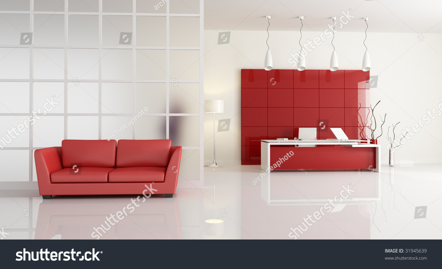 Red And White Office With Leathe Sofa Rendering Stock