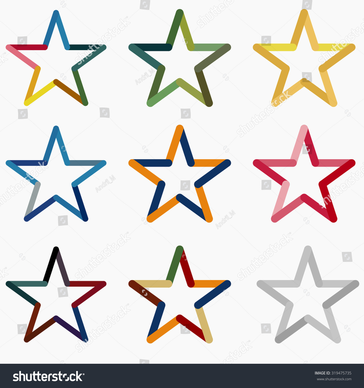 Colored Stars Vector Icon Template Set Stock Vector 319475735 ...