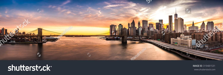 Brooklyn Bridge panorama at sunset #319481531