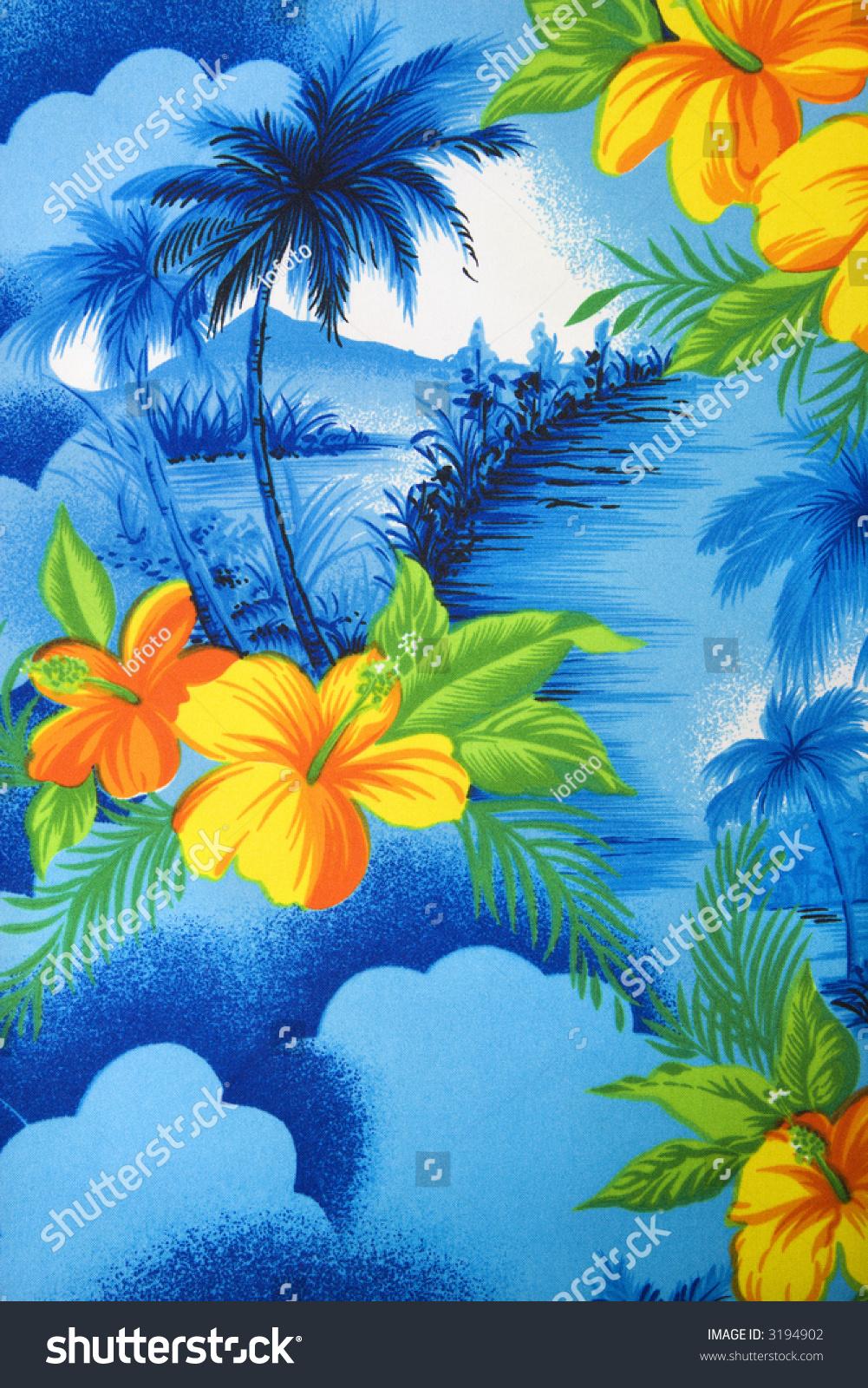Closeup Bright Blue Hawaiian Vintage Fabric Stock Photo Edit Now