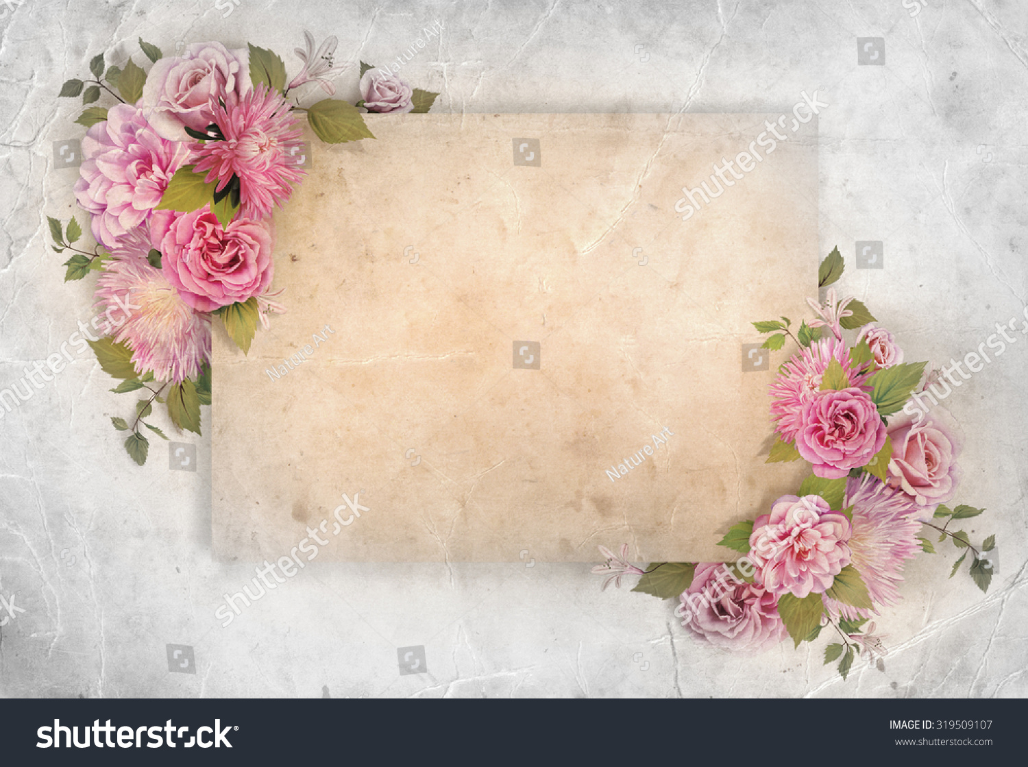Wedding Vintage Romantic Background With Roses Camellia Flowers Green Leaves And Striped Light Hipster