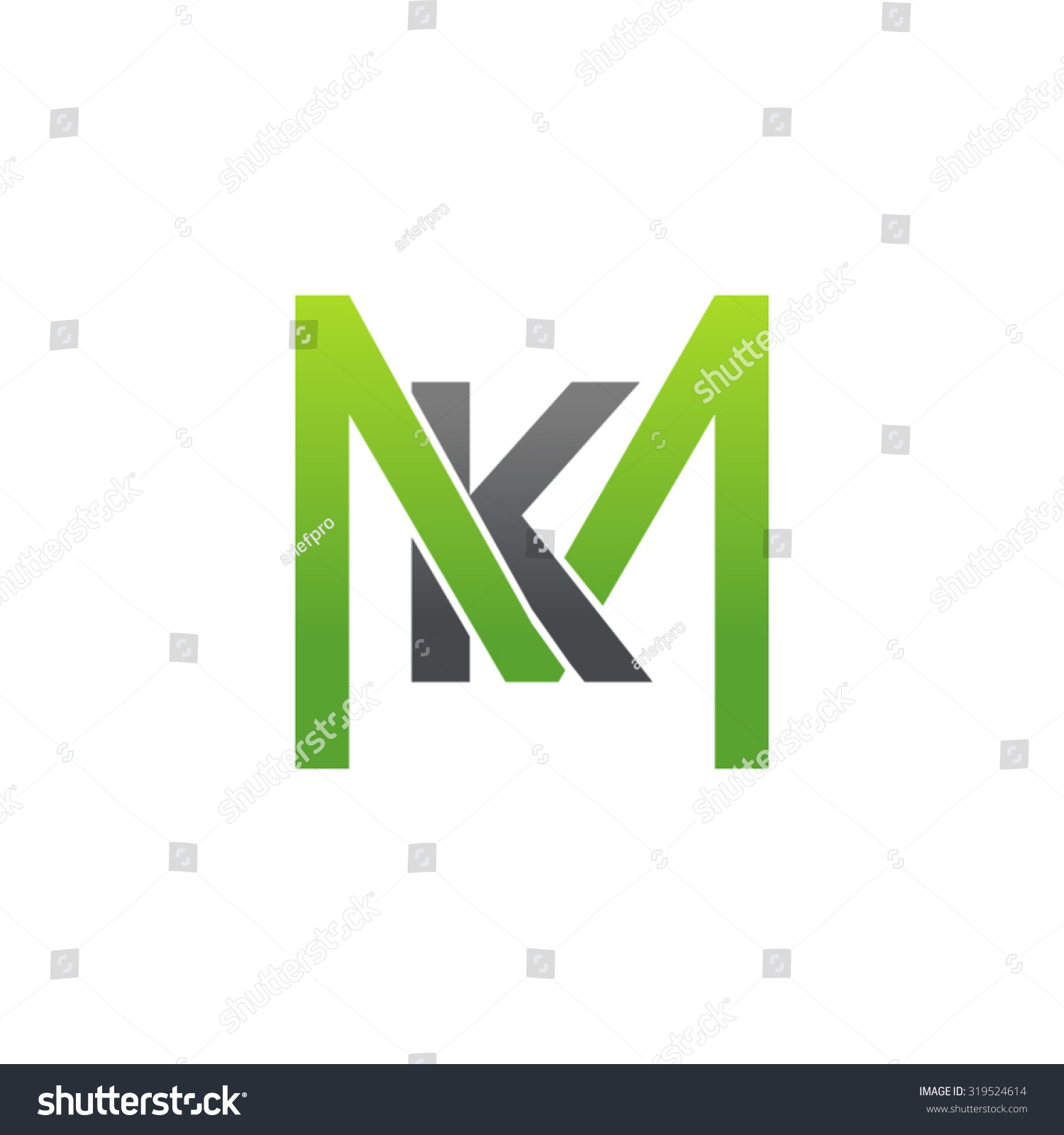 km mk initial company square m stock vector 319524614