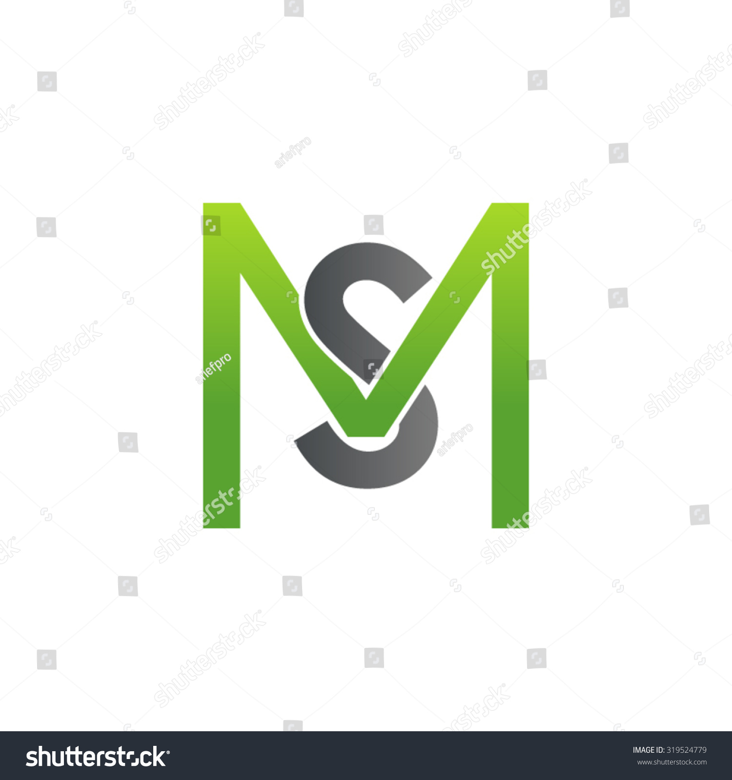 sm ms initial company square m stock vector 319524779