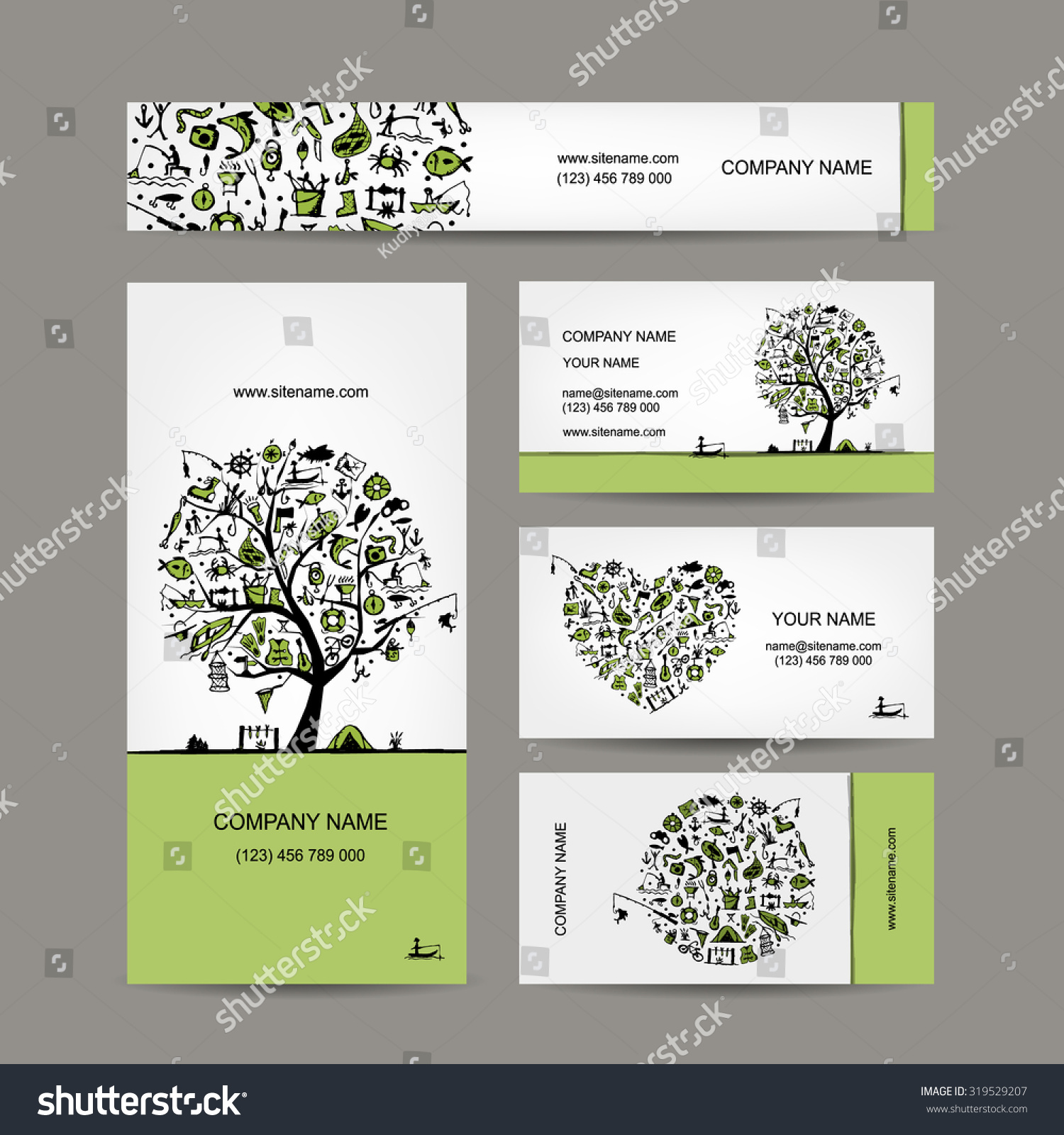 Fishing Business Cards Set Your Design Stock Vector 319529207 ...
